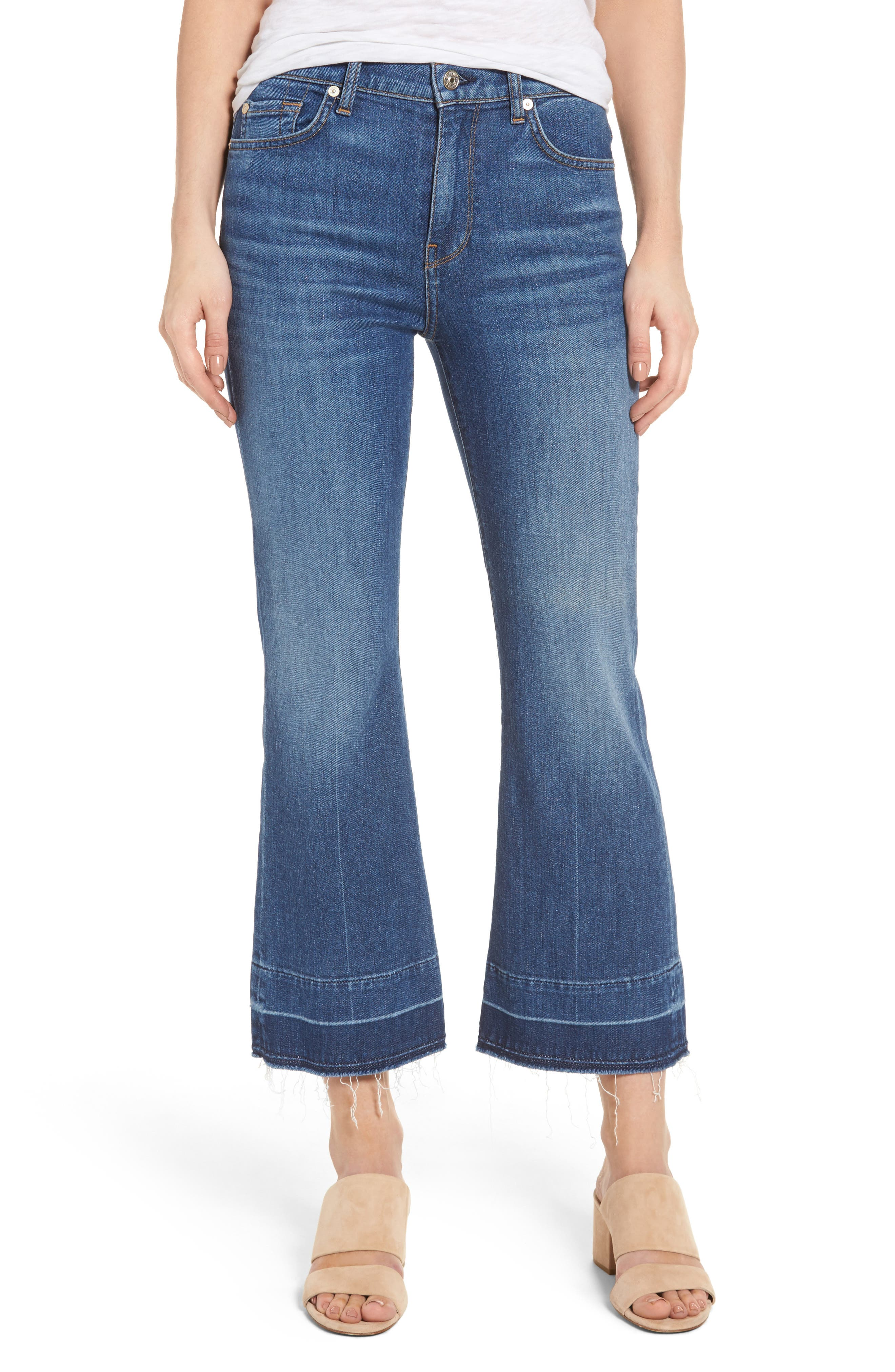 7 FOR ALL MANKIND<SUP>®</SUP>, Ali Split Hem Crop Flare Jeans, Main thumbnail 1, color, 401