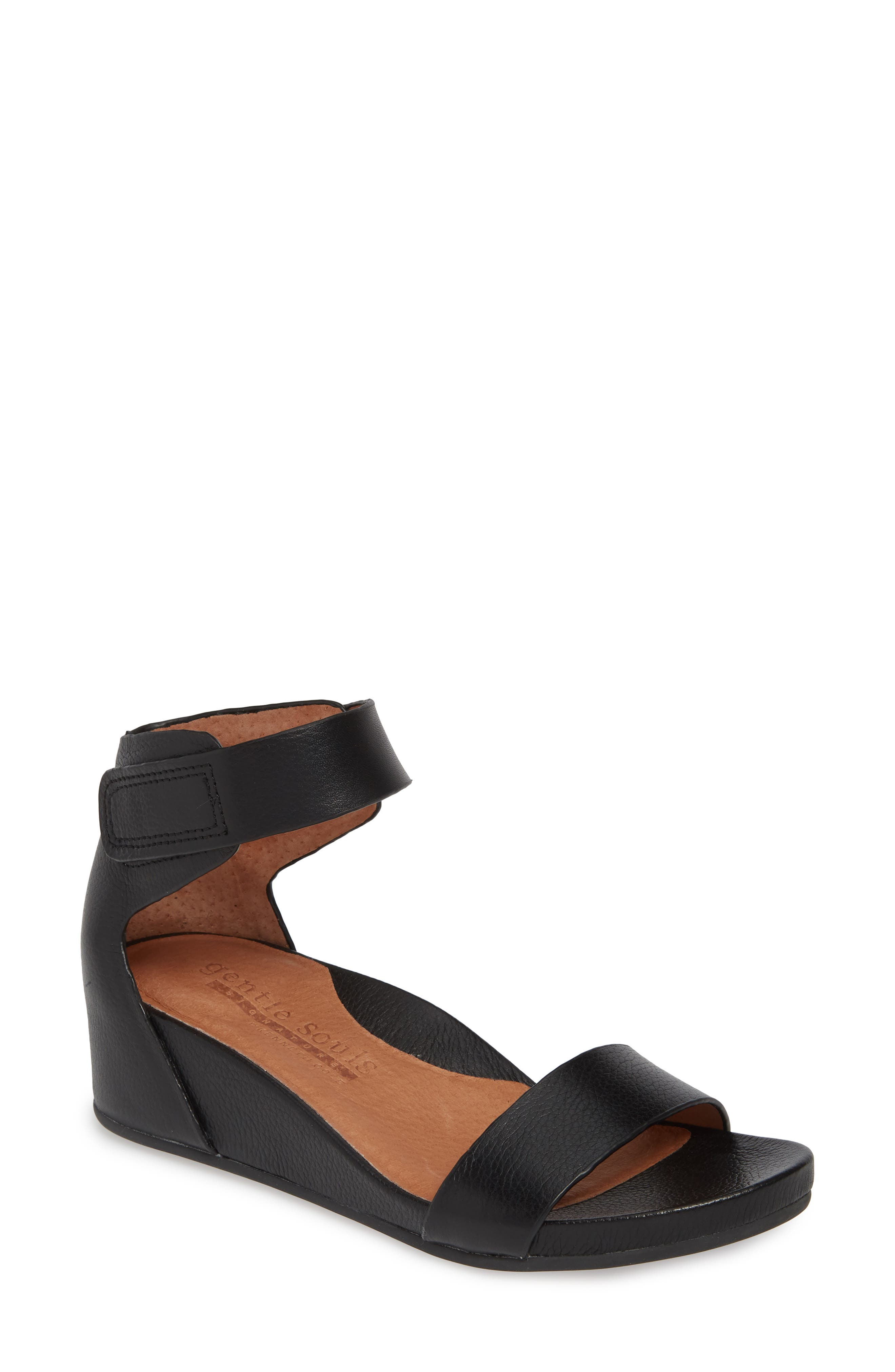 GENTLE SOULS SIGNATURE, Gianna Wedge Sandal, Main thumbnail 1, color, BLACK LEATHER