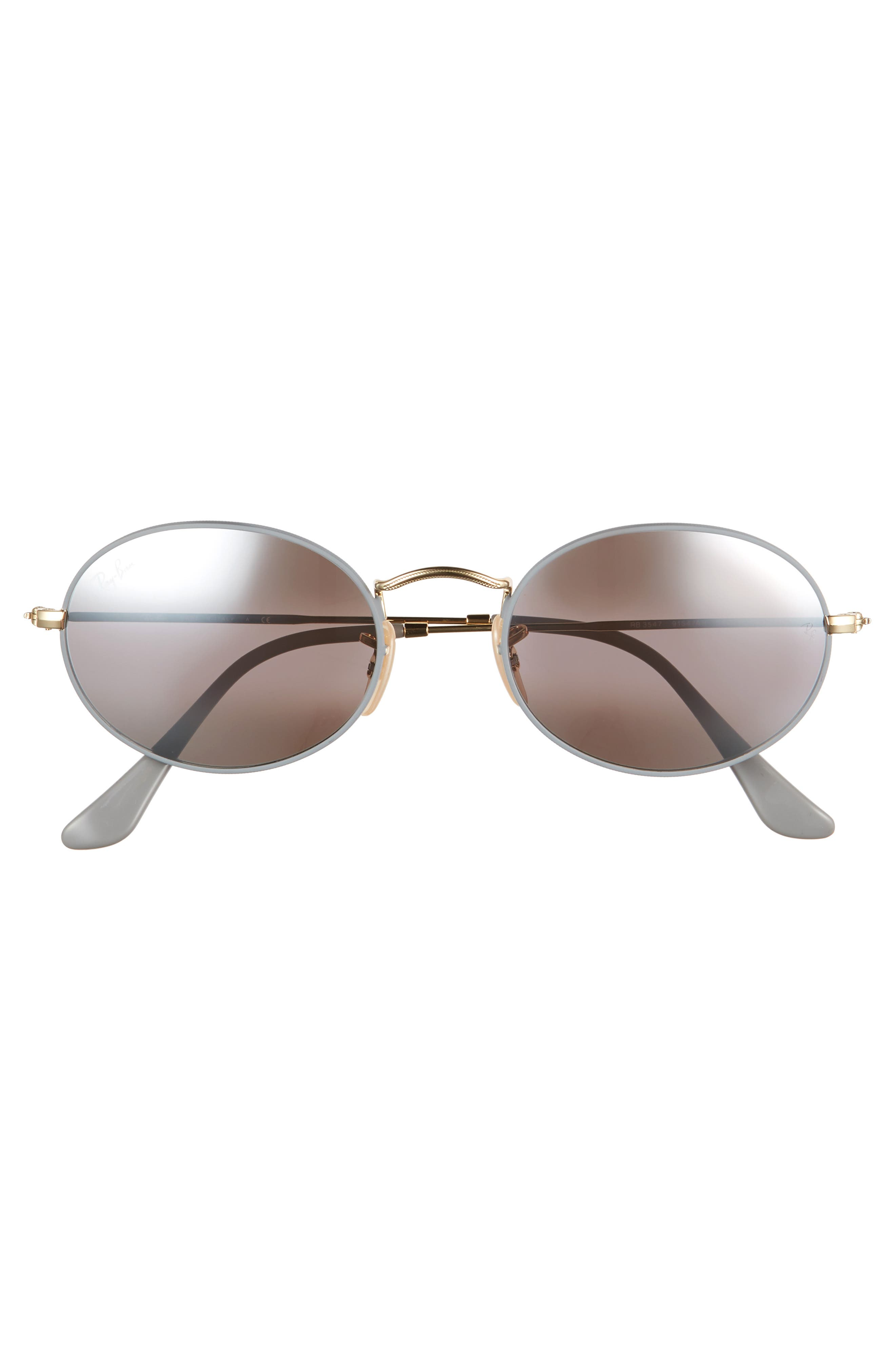 RAY-BAN, 54mm Oval Sunglasses, Alternate thumbnail 2, color, GOLD GREY