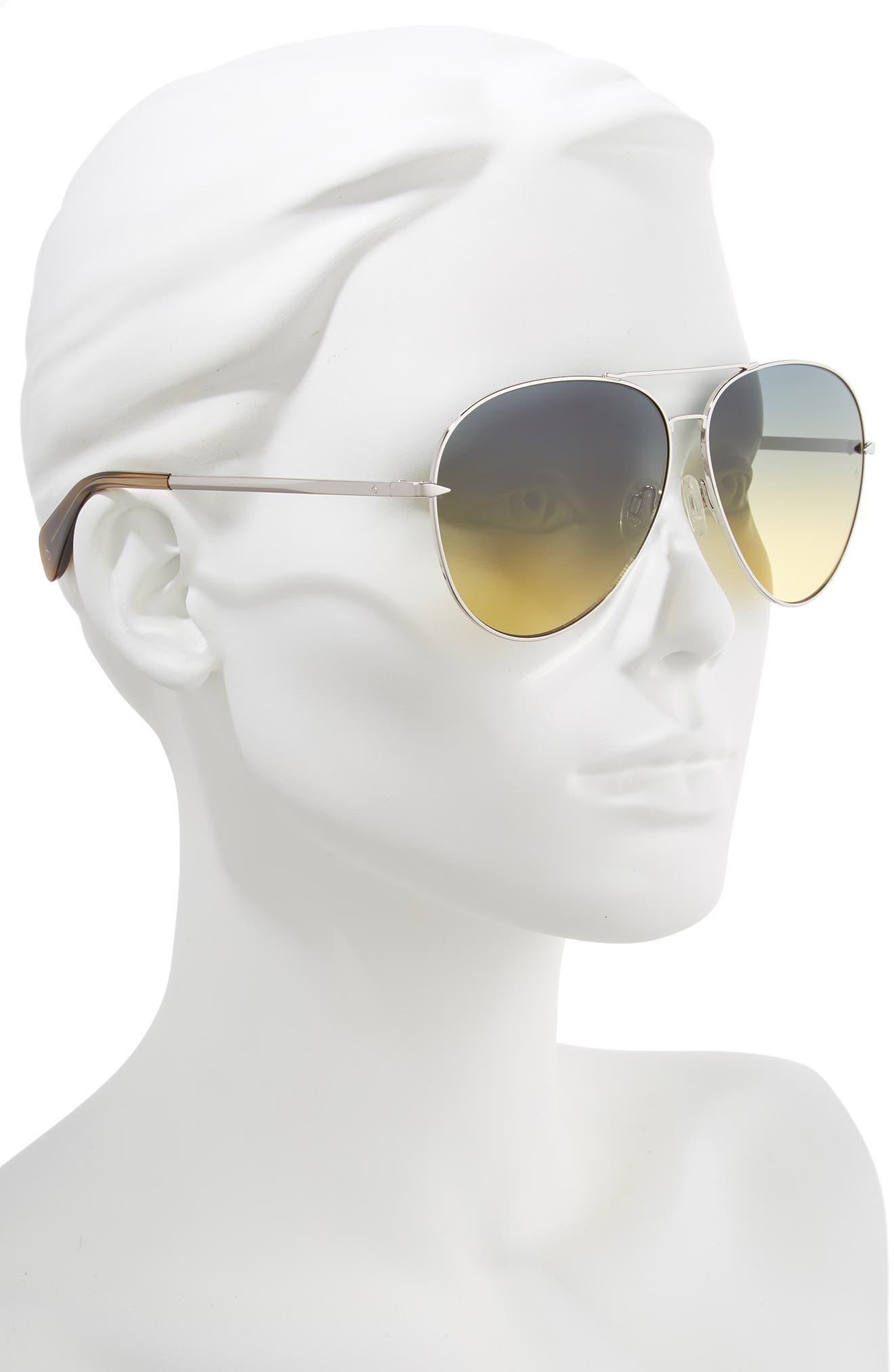 RAG & BONE, 63mm Oversize Aviator Sunglasses, Alternate thumbnail 2, color, SILVER