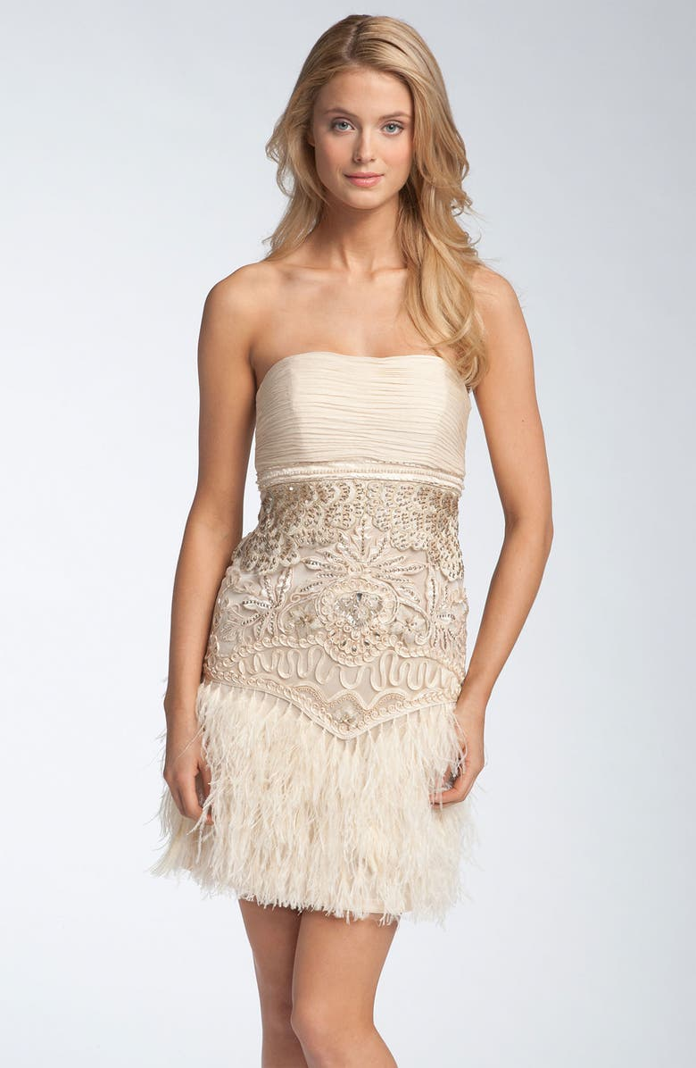 a9bbfac5f9 Sue Wong Strapless Feather Skirt Dress | Nordstrom