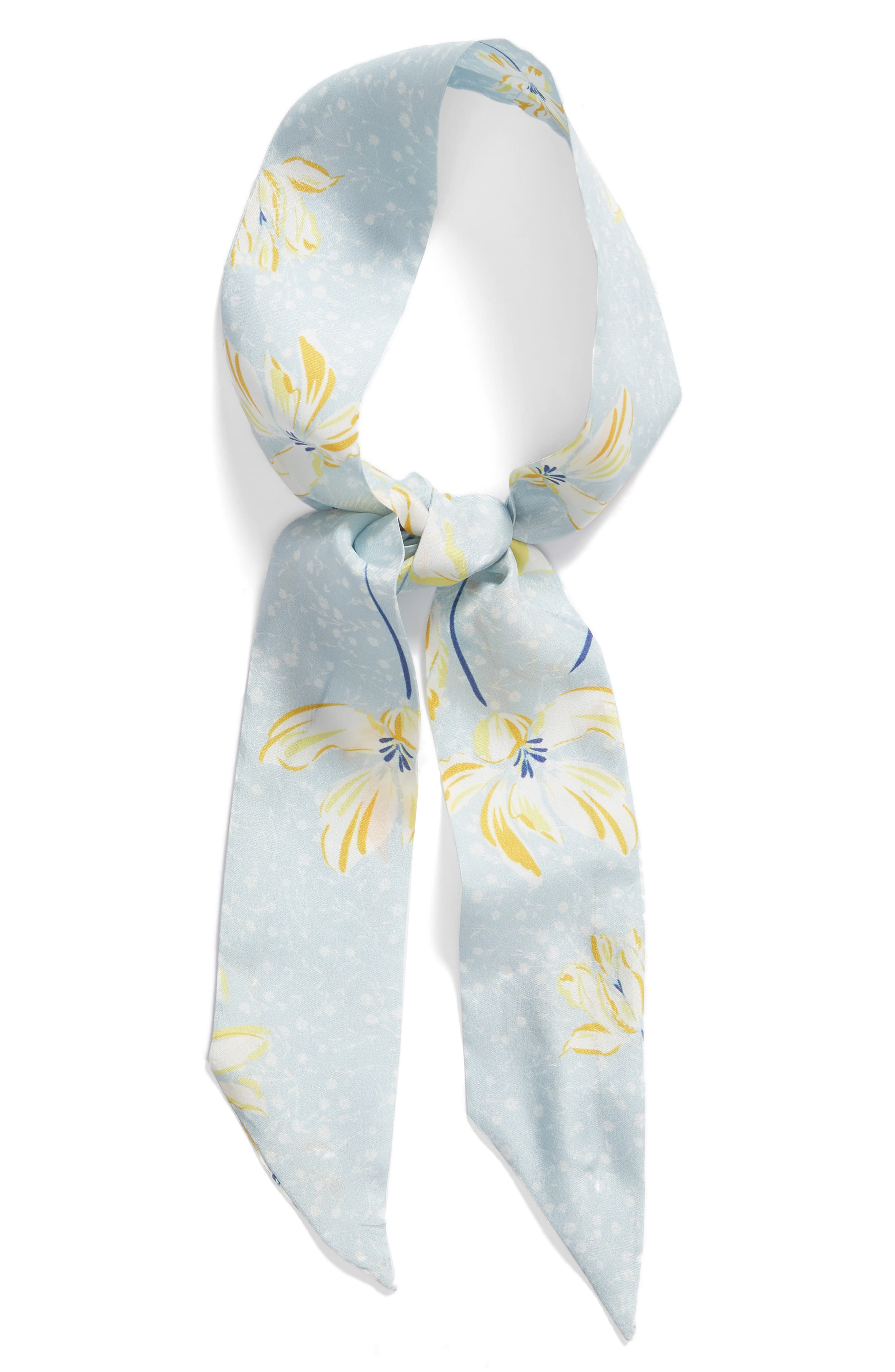 SOMETHING NAVY, Silk Skinny Scarf, Alternate thumbnail 2, color, BLUE SPRING FLORAL