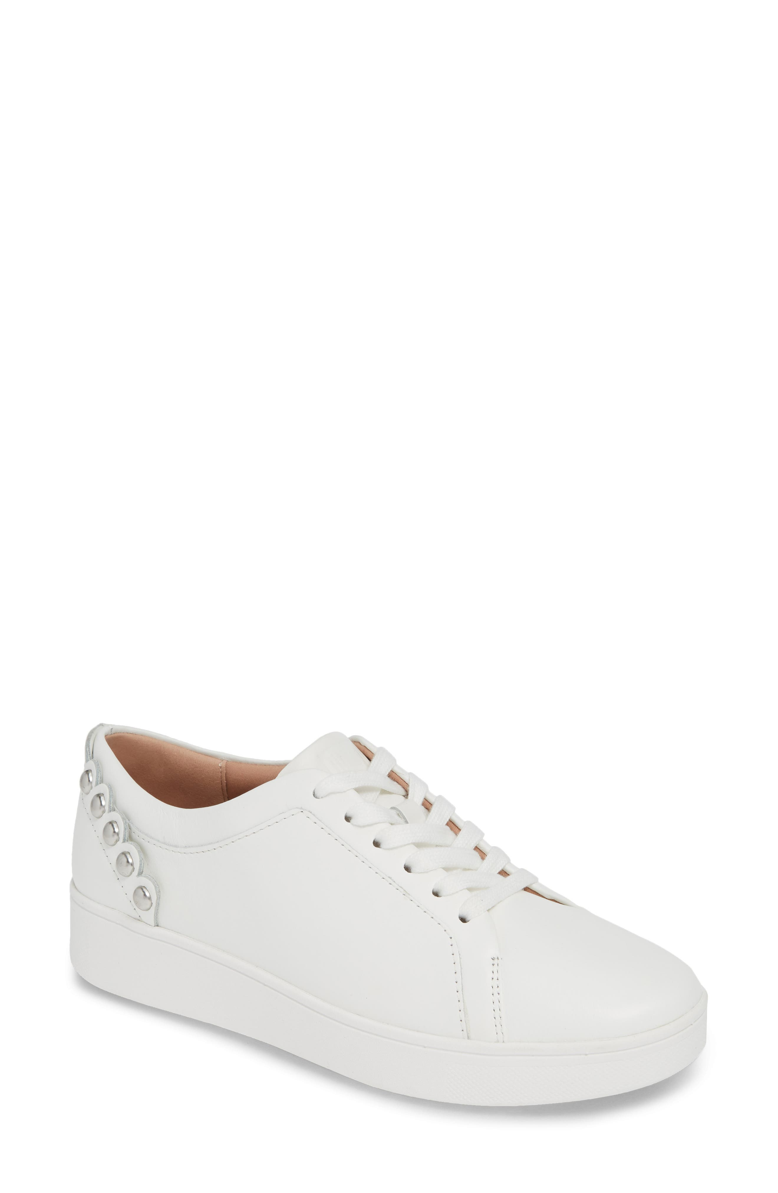 FITFLOP, Rally Studded Sneaker, Main thumbnail 1, color, URBAN WHITE LEATHER