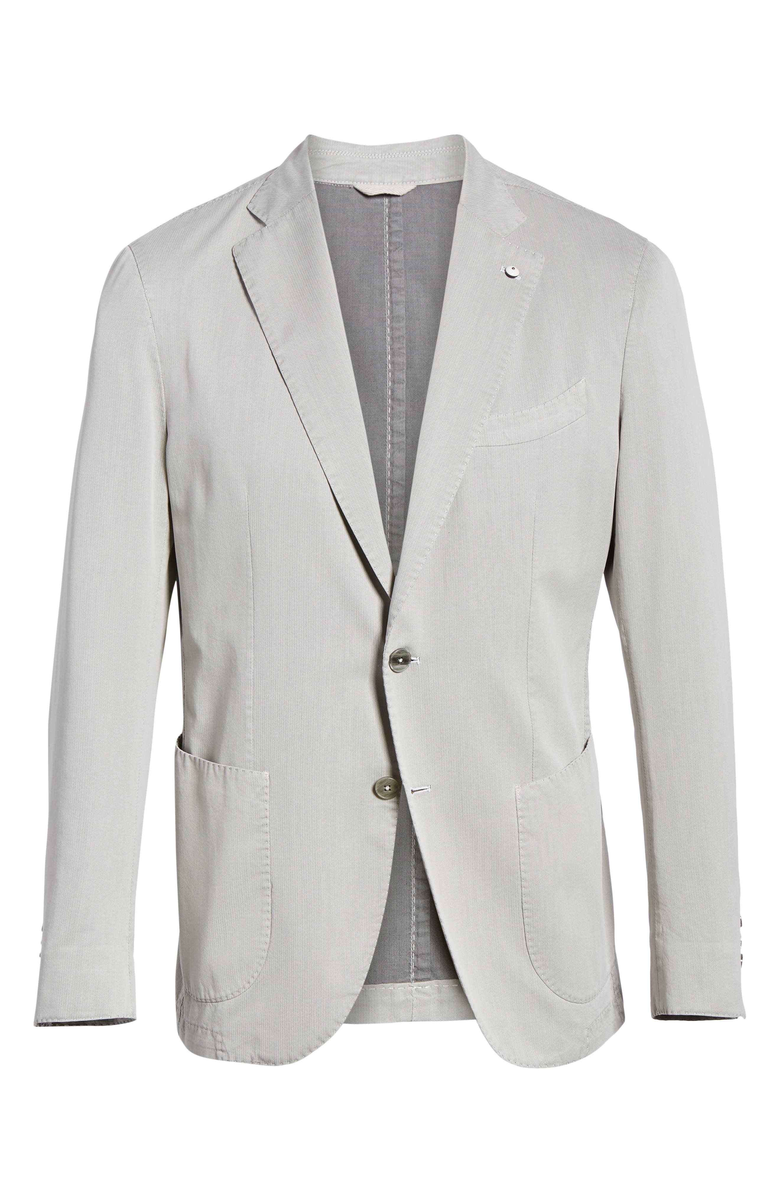 L.B.M. 1911, Trim Fit Herringbone Cotton & Silk Sport Coat, Alternate thumbnail 5, color, LIGHT/ PASTEL GREY