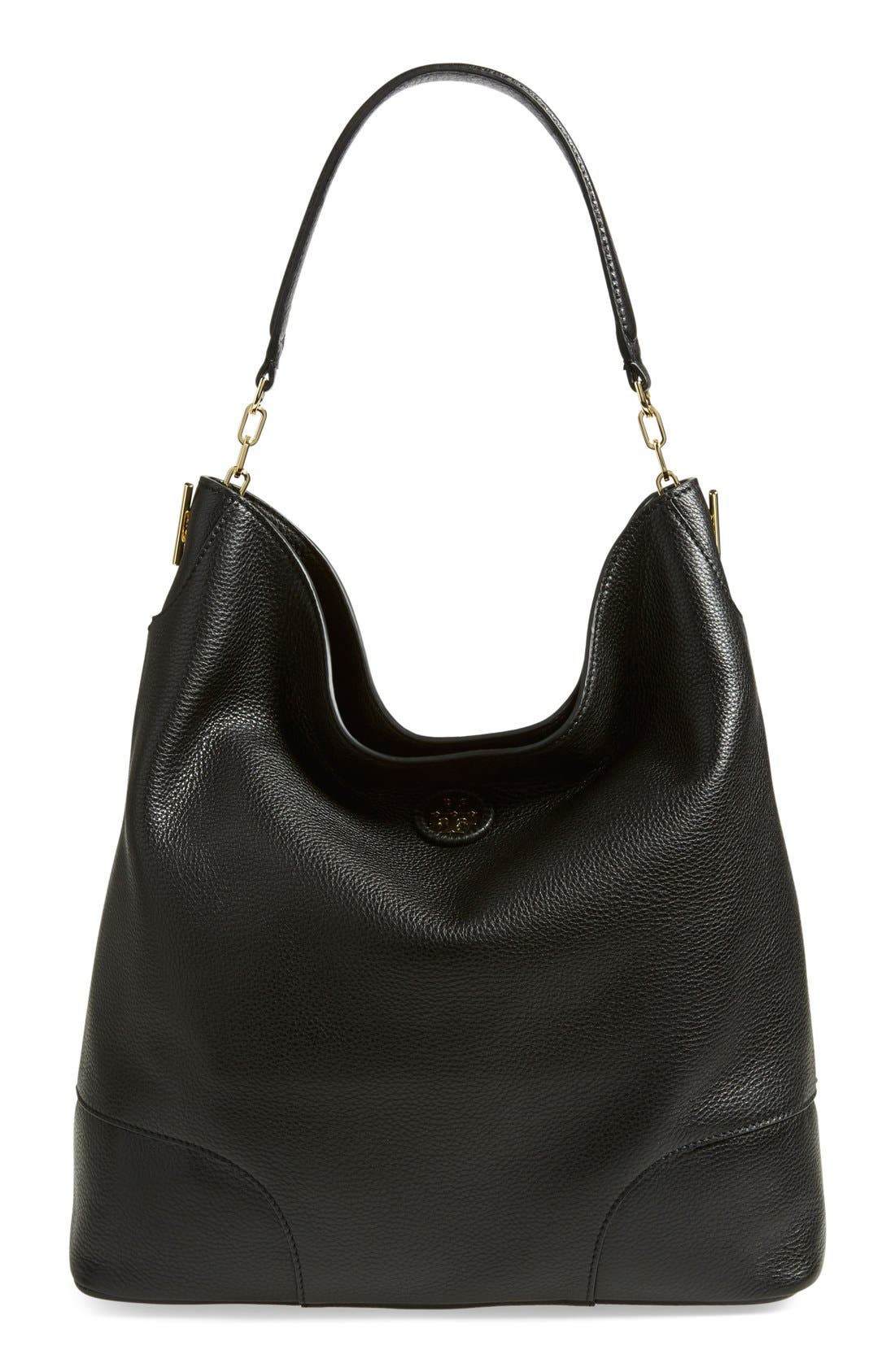 TORY BURCH, Leather Hobo, Main thumbnail 1, color, 001
