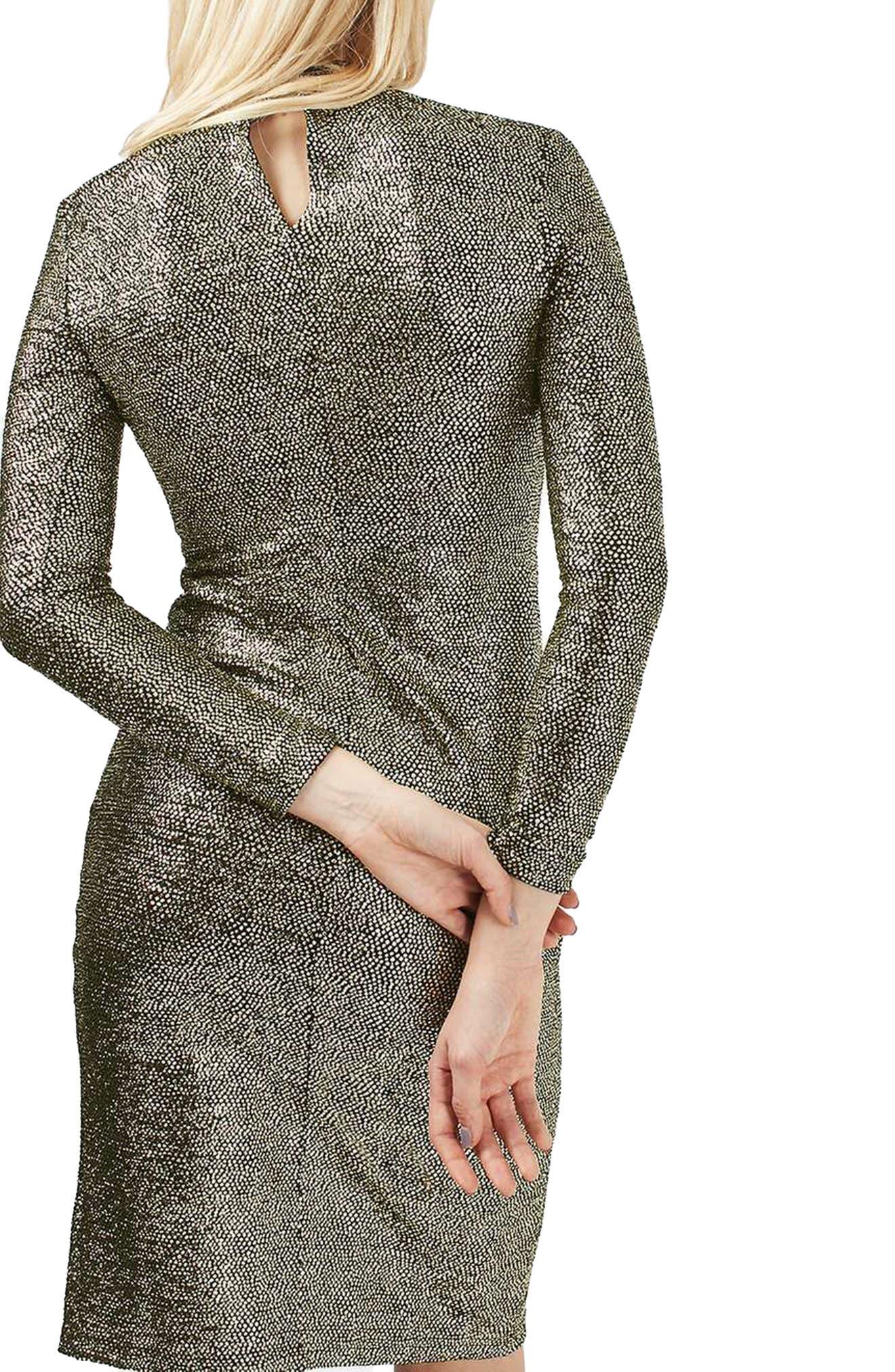 TOPSHOP, Foil Spot Midi Dress, Alternate thumbnail 2, color, 710