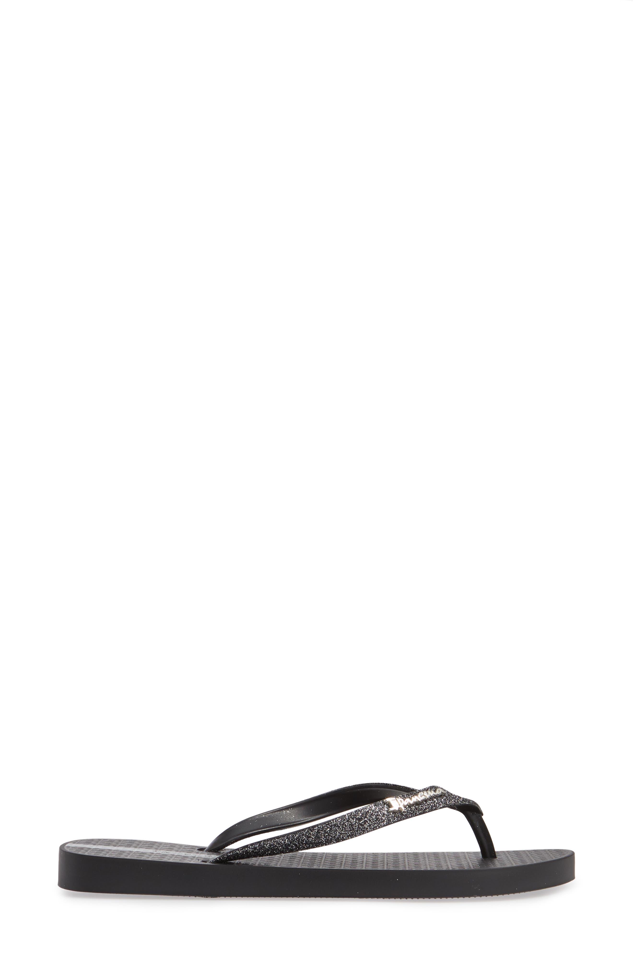 IPANEMA, 'Glitter' Flip Flop, Alternate thumbnail 3, color, BLACK/ BLACK