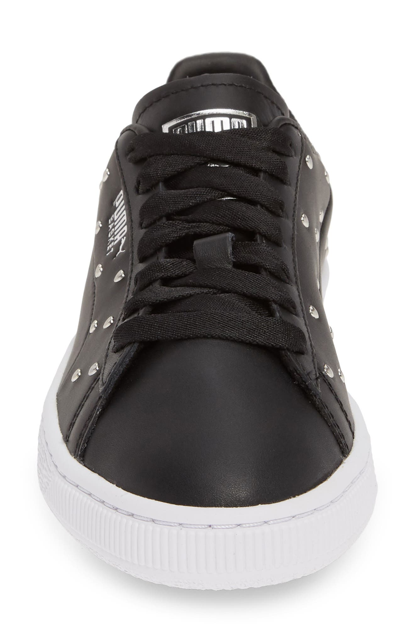 PUMA, Basket Studs Sneaker, Alternate thumbnail 4, color, BLACK/ SILVER