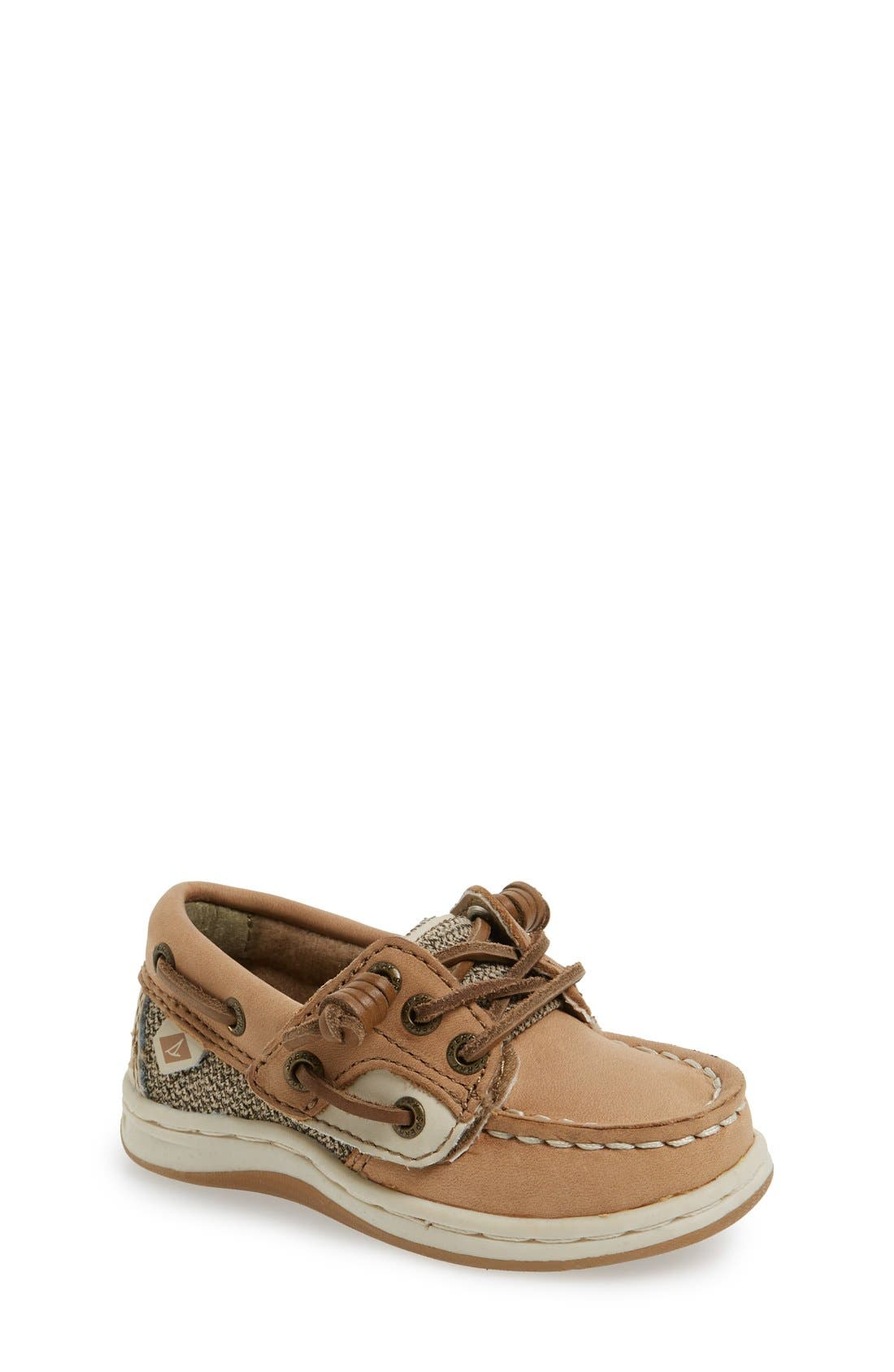 SPERRY KIDS, 'Songfish' Boat Shoe, Alternate thumbnail 2, color, LINEN/ OAT LEATHER