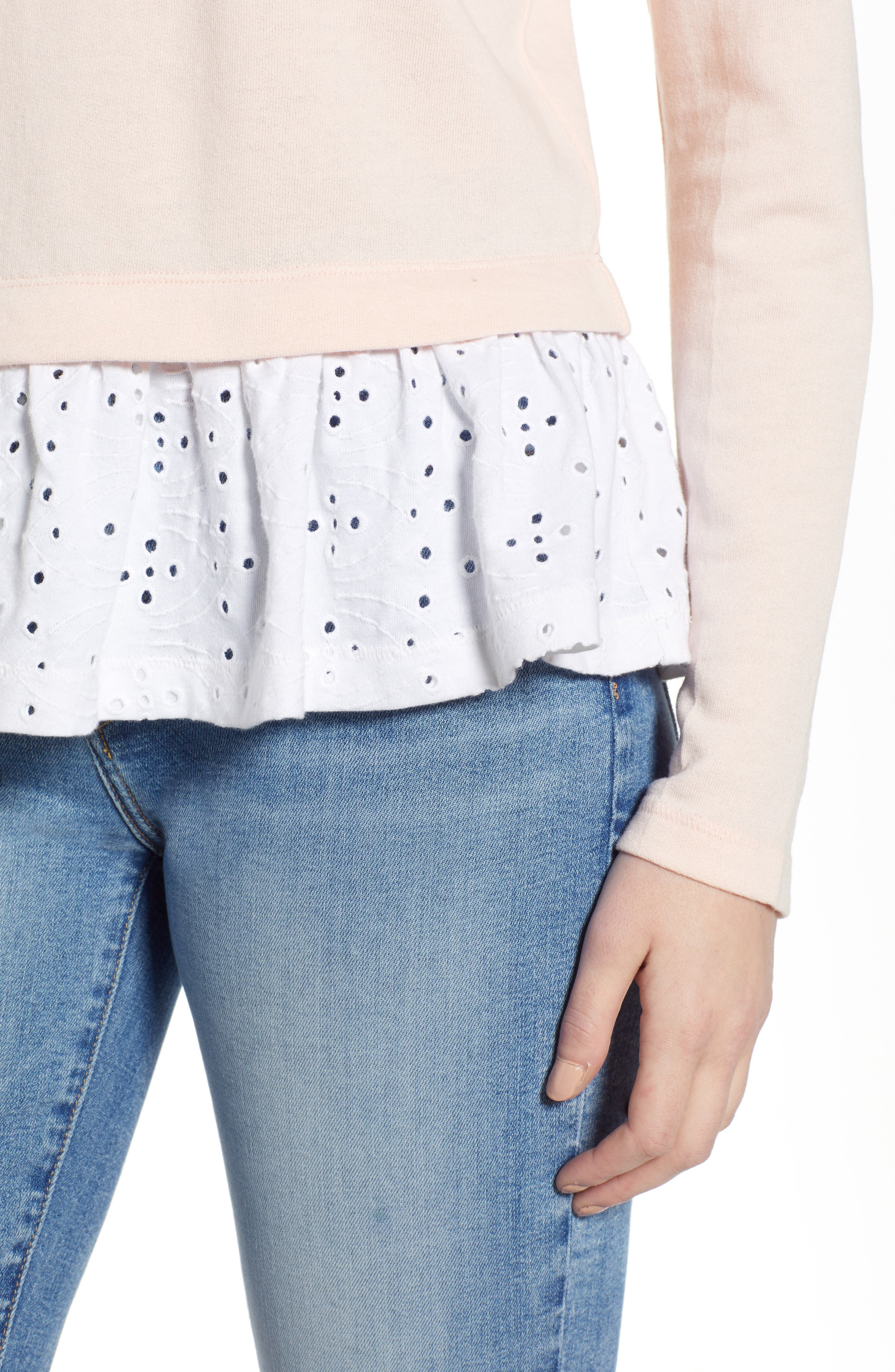 CASLON<SUP>®</SUP>, Eyelet Peplum Sweatshirt, Alternate thumbnail 4, color, PINK- WHITE