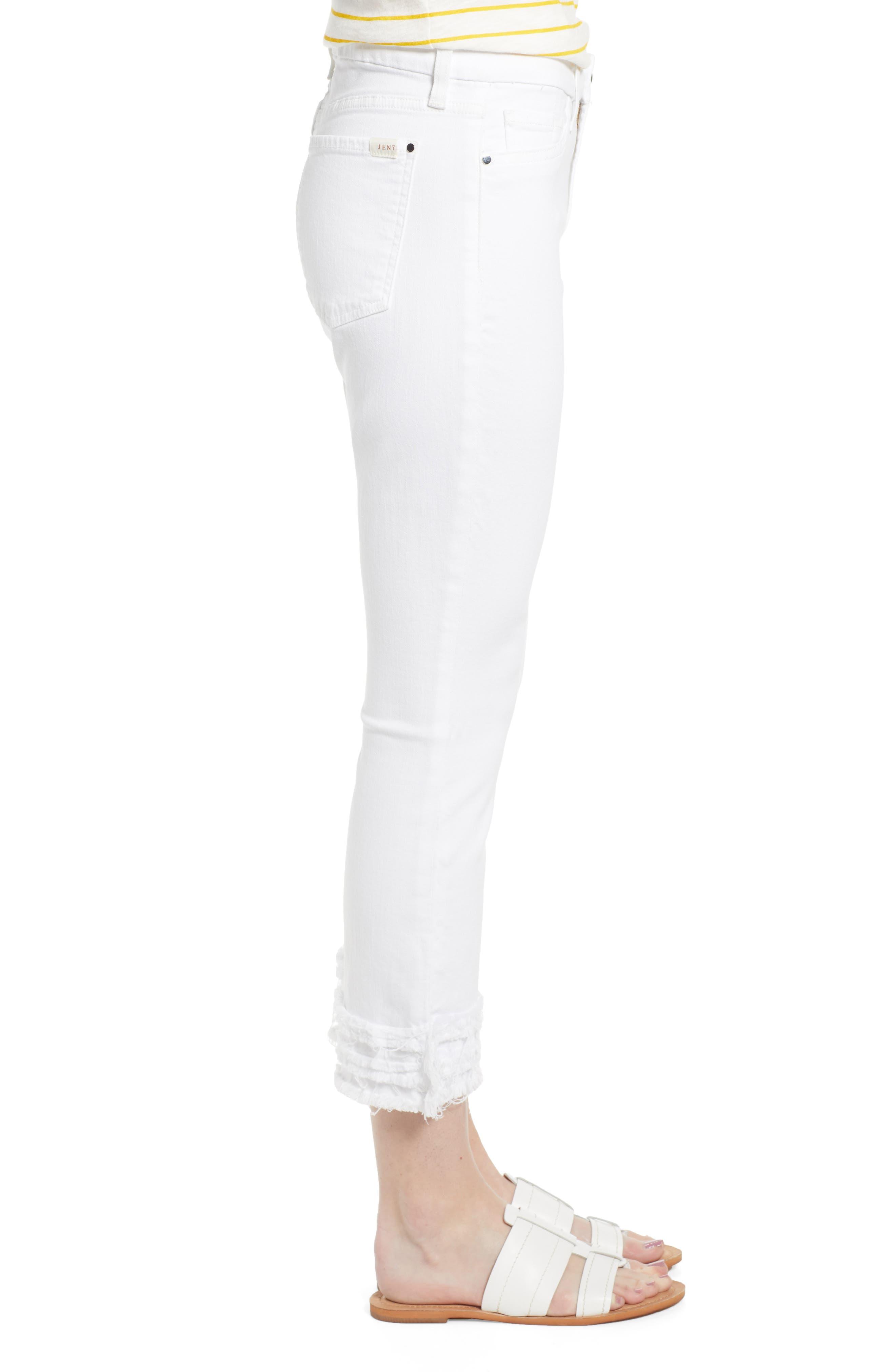 JEN7 BY 7 FOR ALL MANKIND, Fringe Hem Crop Jeans, Alternate thumbnail 4, color, WHITE FASHION