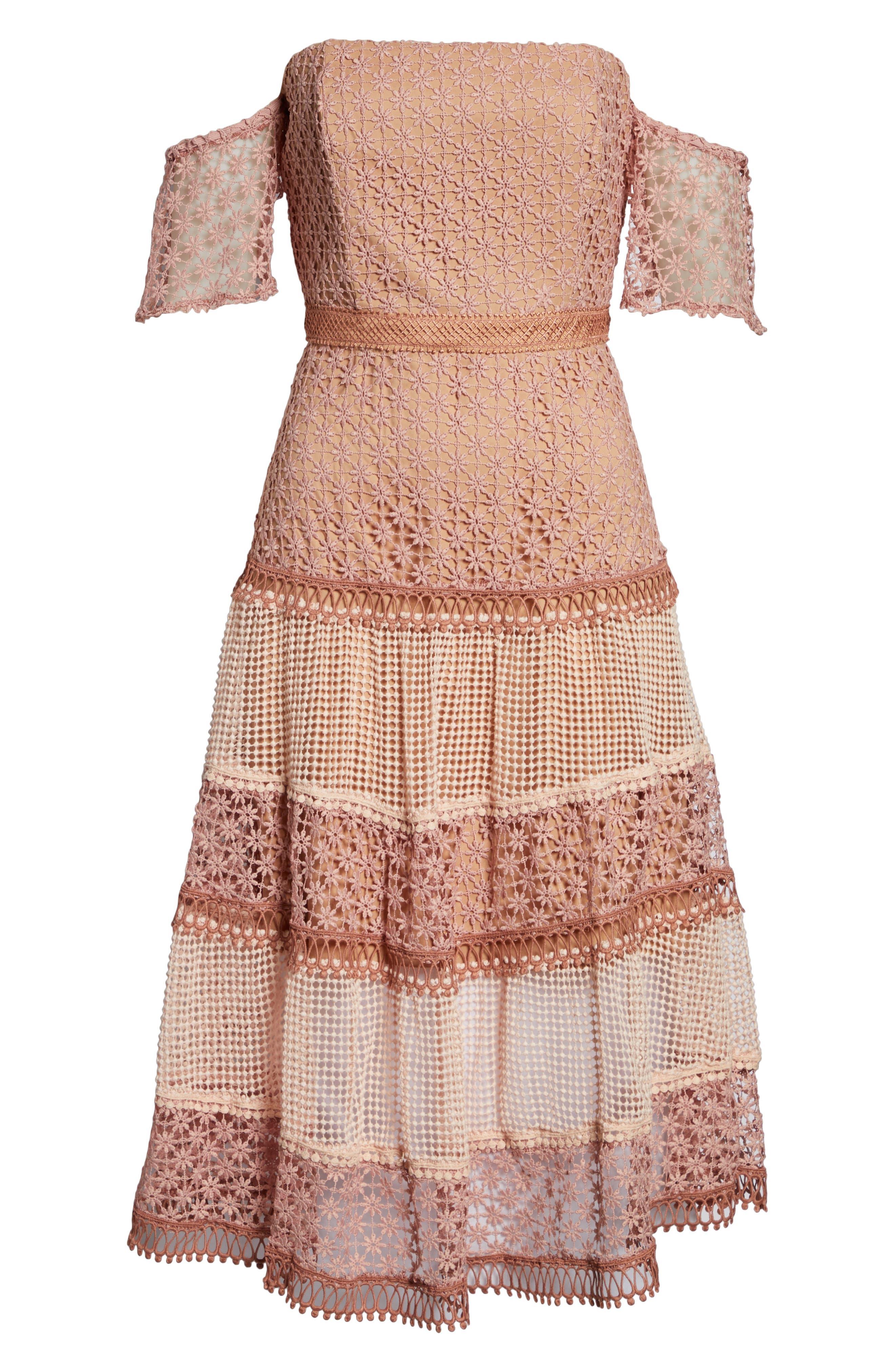 BARDOT, Kristen Off the Shoulder Lace Midi Dress, Alternate thumbnail 6, color, 680