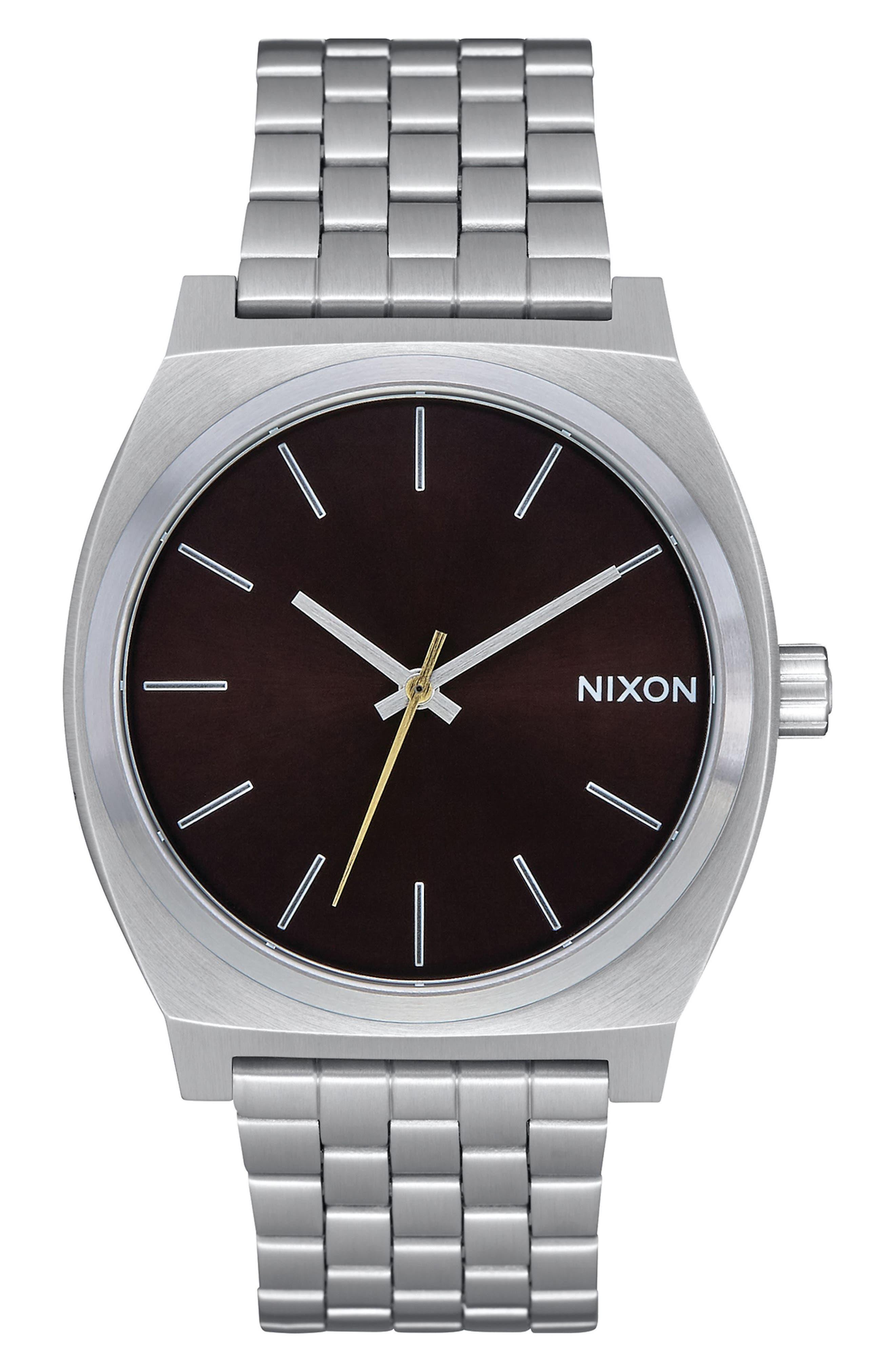 NIXON The Time Teller Bracelet Watch, 37mm, Main, color, SILVER/ BLACK/ SILVER
