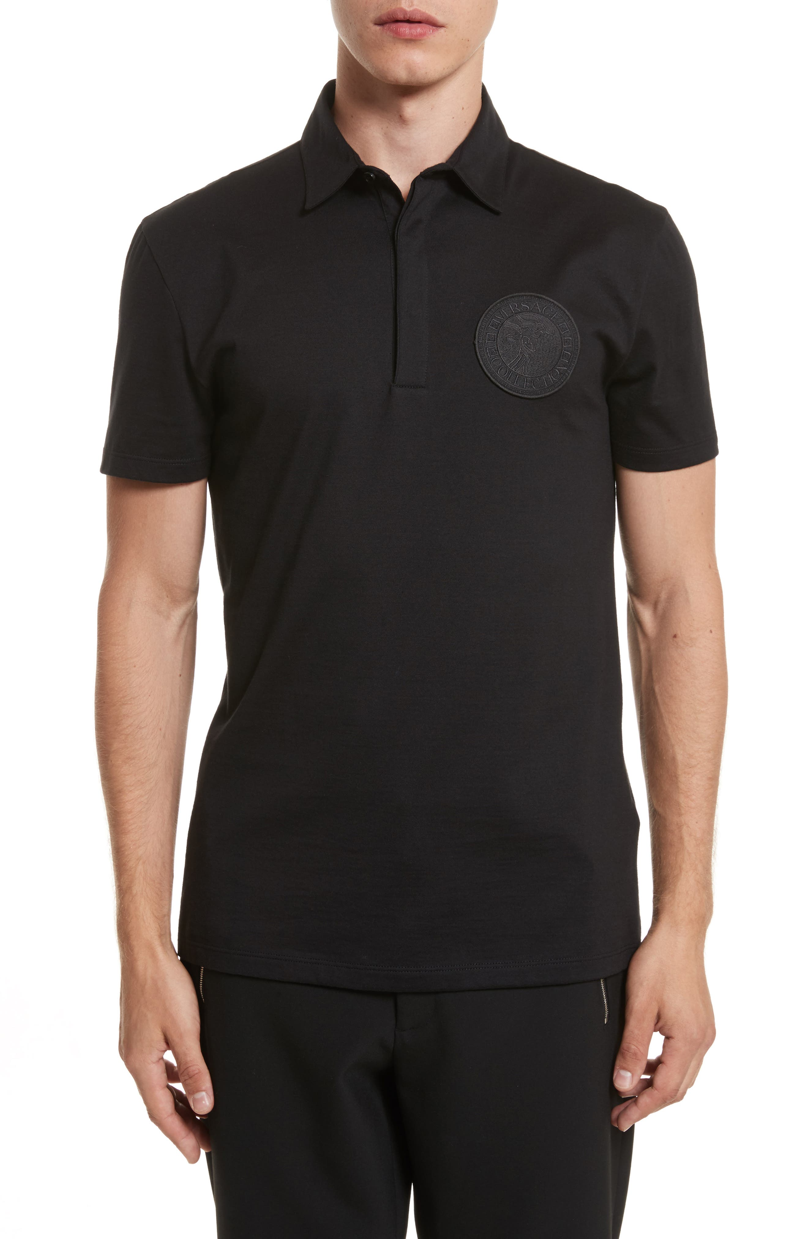 VERSACE COLLECTION Logo Patch Jersey Polo, Main, color, 001