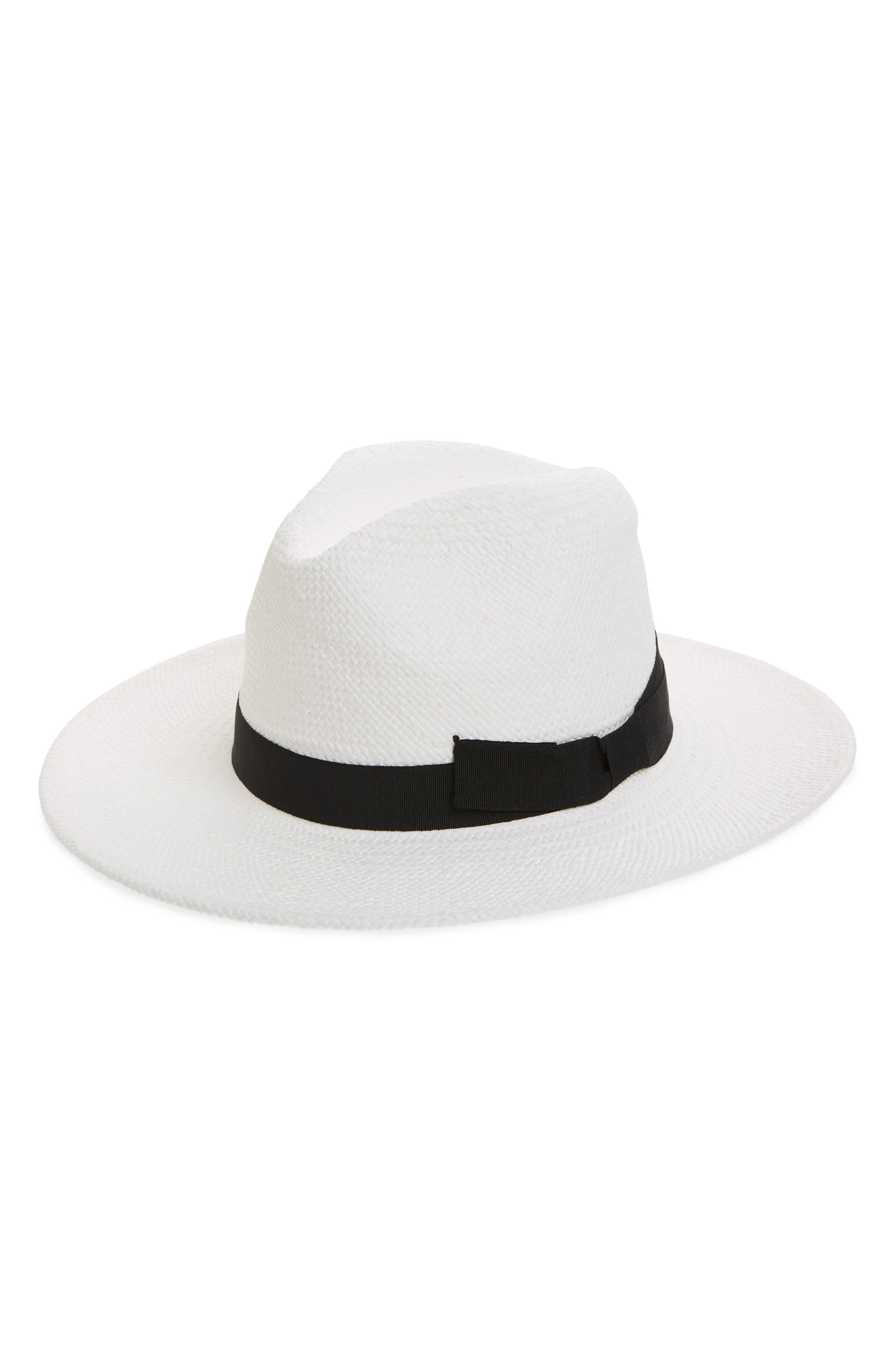 HALOGEN<SUP>®</SUP>, Woven Panama Hat, Main thumbnail 1, color, WHITE