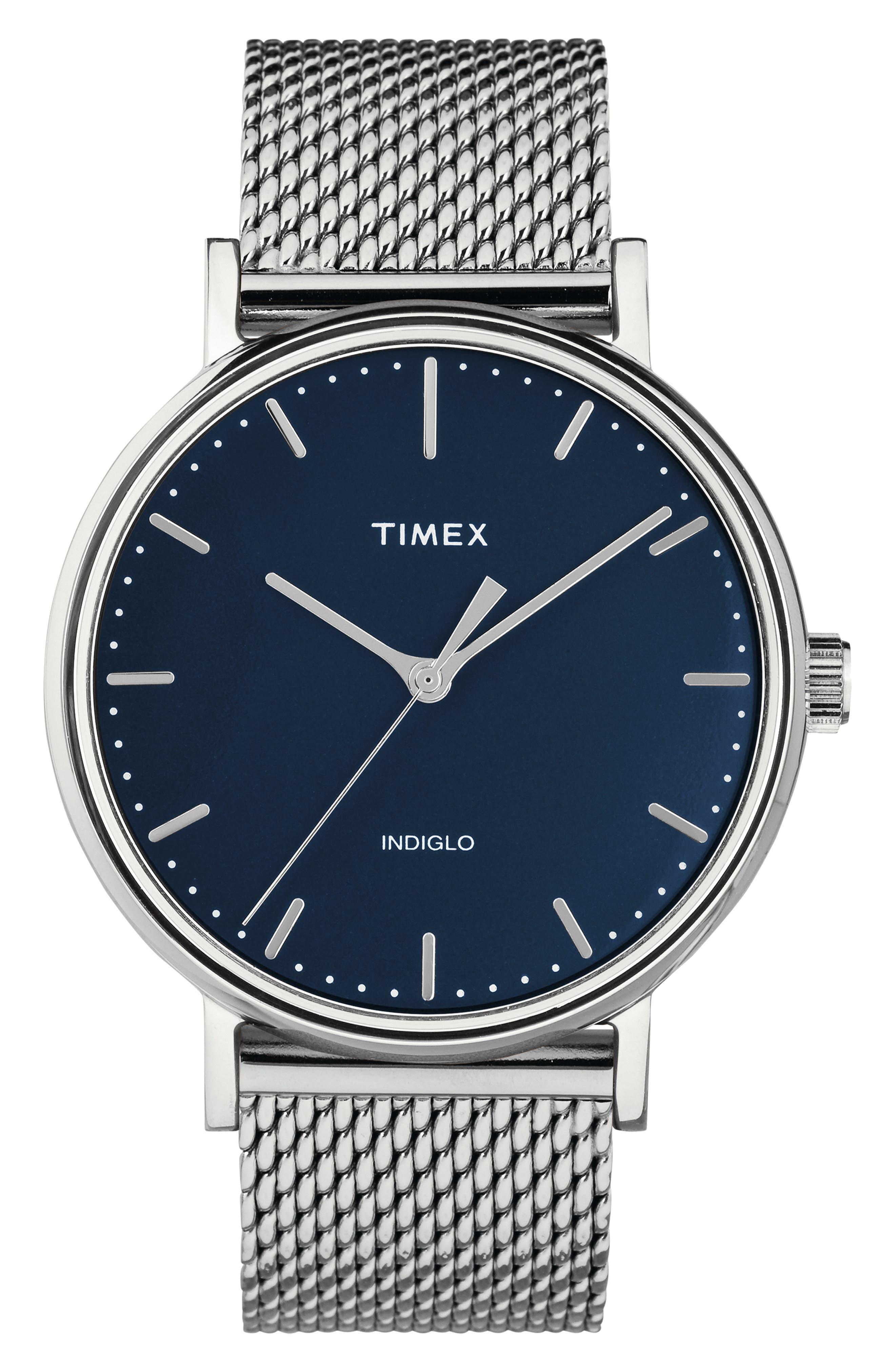 TIMEX<SUP>®</SUP>, Fairfield Mesh Strap Watch, 41mm, Main thumbnail 1, color, SILVER/ BLUE/ SILVER
