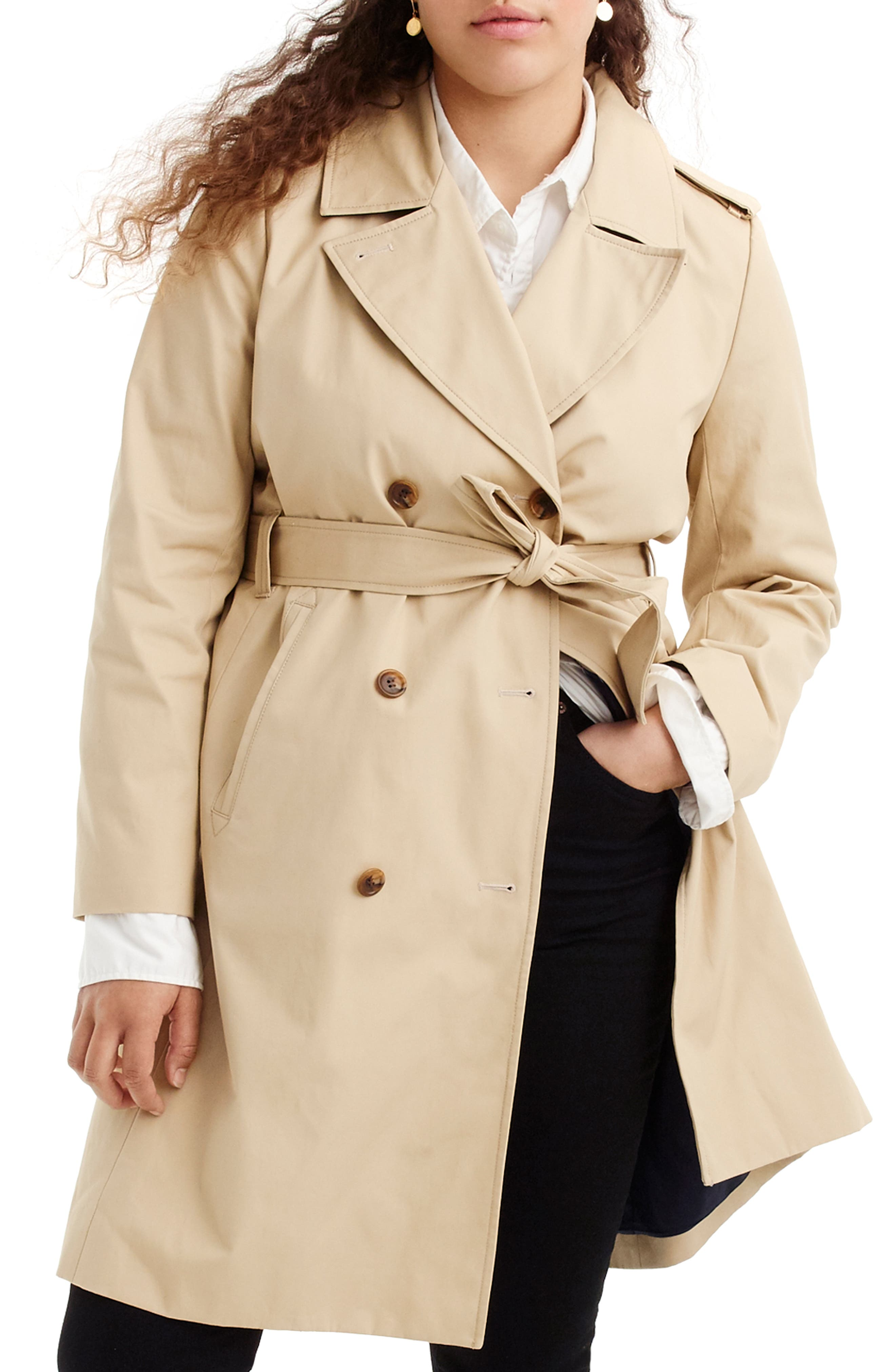 J.CREW 2011 Icon Trench Coat, Main, color, VINTAGE KHAKI