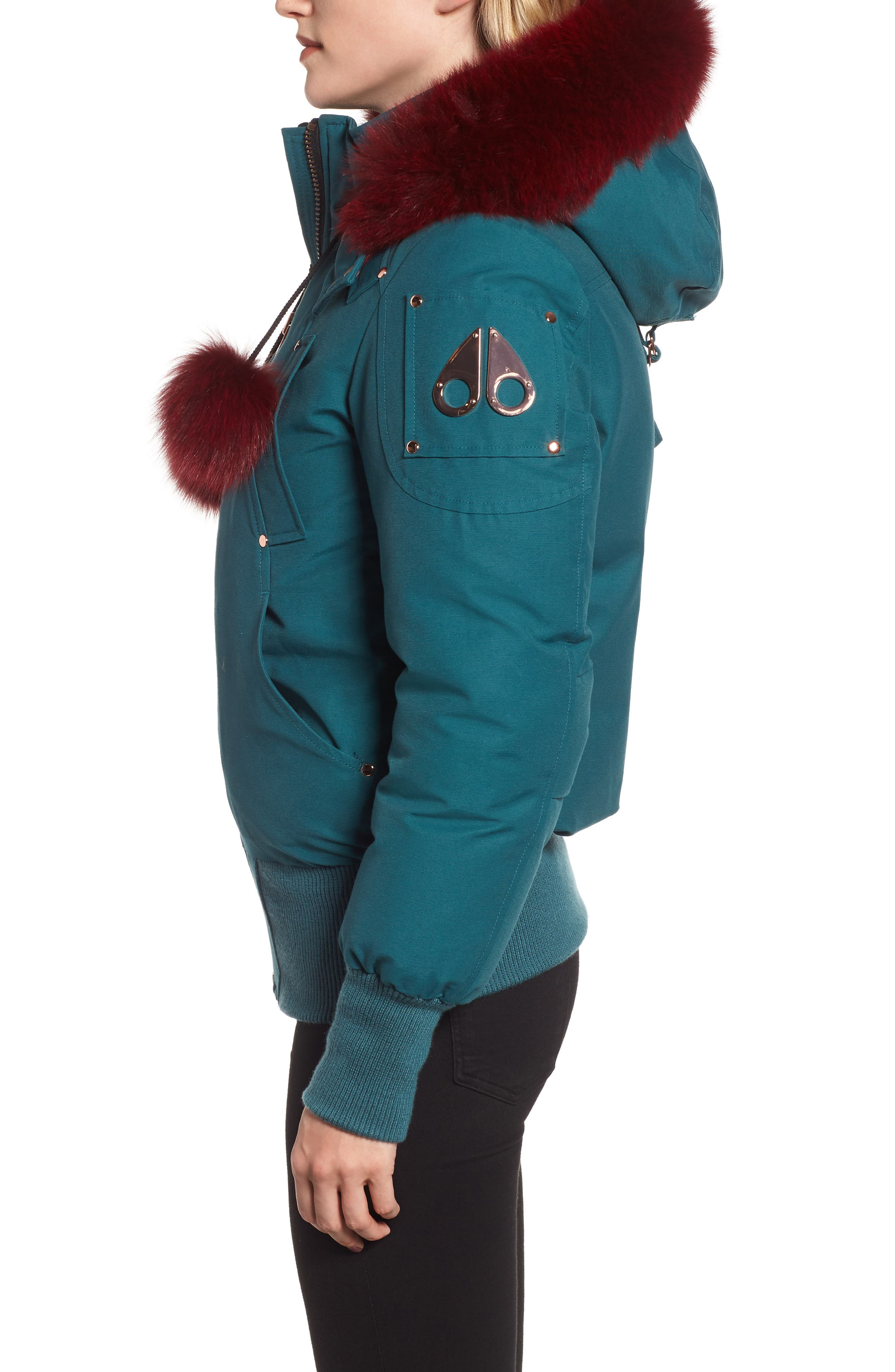 MOOSE KNUCKLES, Yorkdale Genuine Fox Fur Trim Down Jacket, Alternate thumbnail 4, color, 315