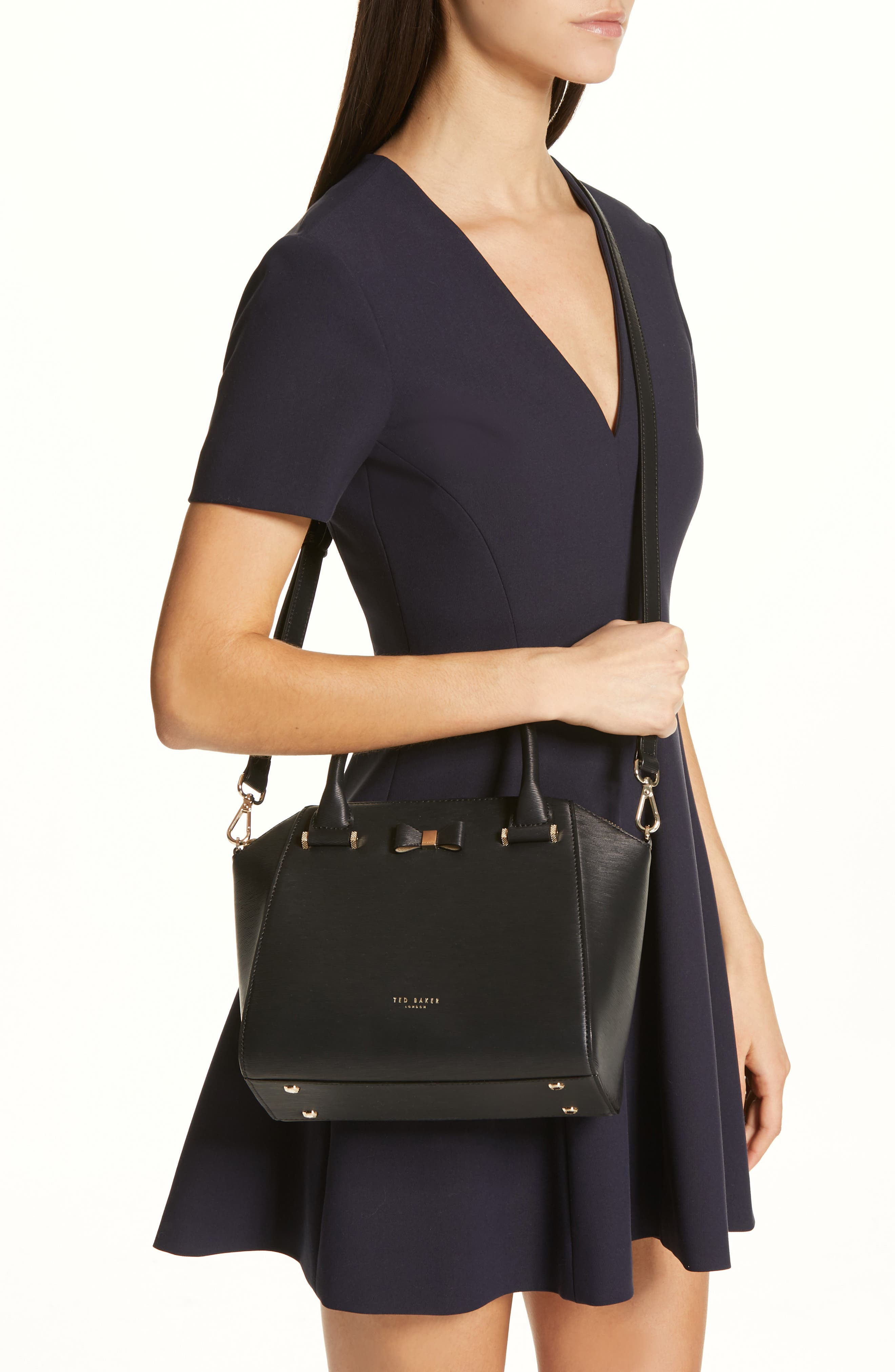TED BAKER LONDON, Bow Tote, Alternate thumbnail 3, color, 001