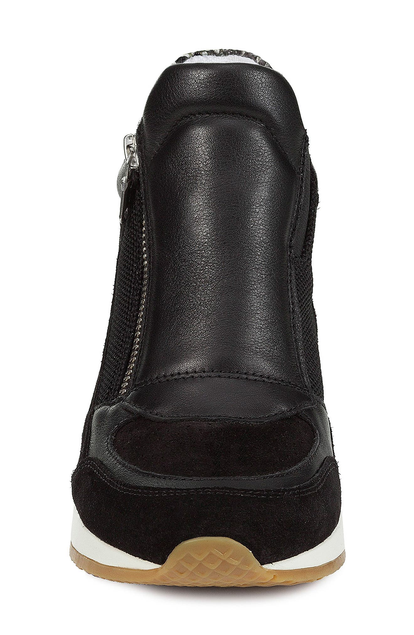 GEOX, Nydame Wedge Sneaker, Alternate thumbnail 4, color, BLACK/ BLACK LEATHER