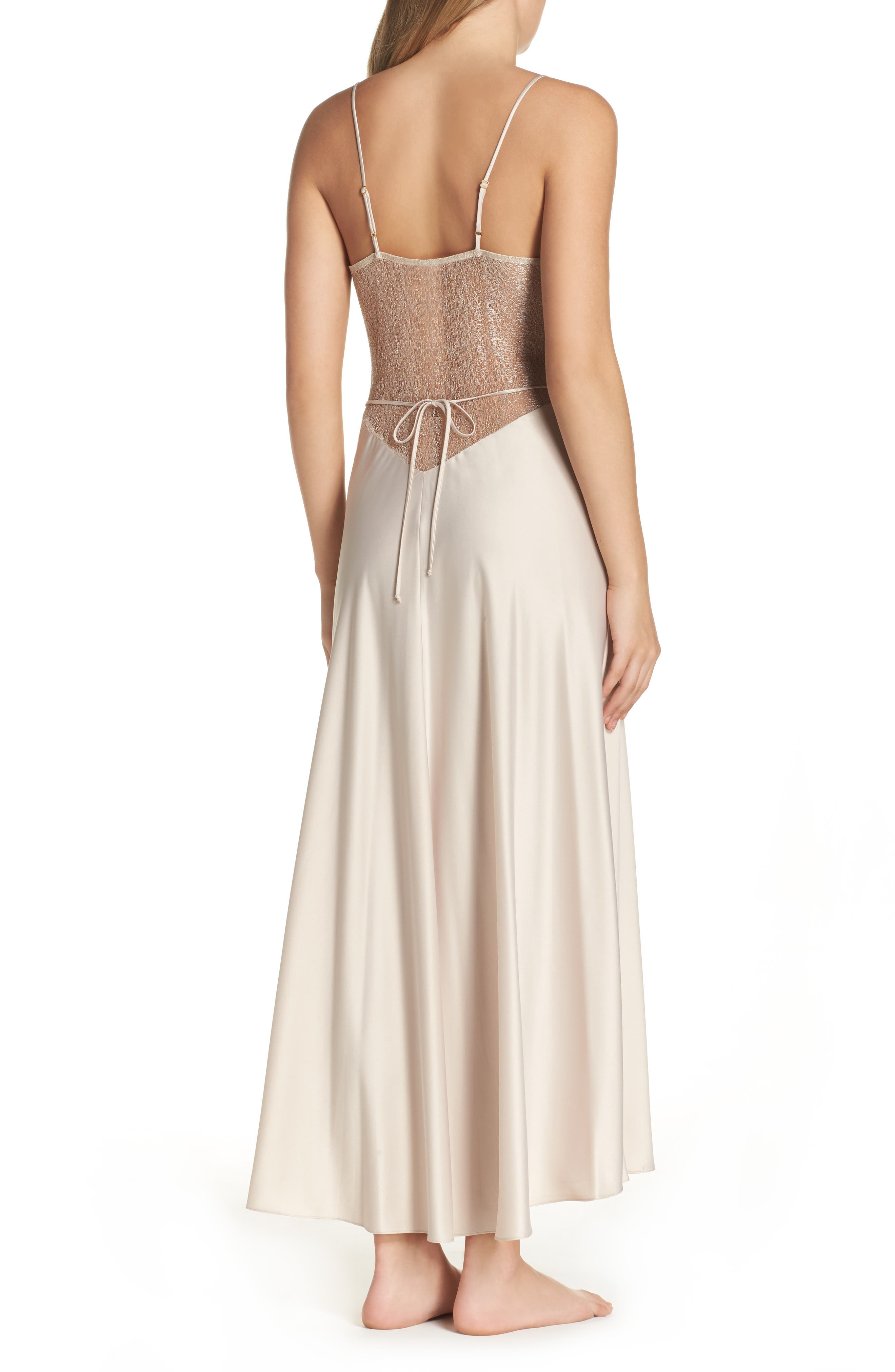 FLORA NIKROOZ, Showstopper Nightgown, Alternate thumbnail 3, color, CHAMPAGNE