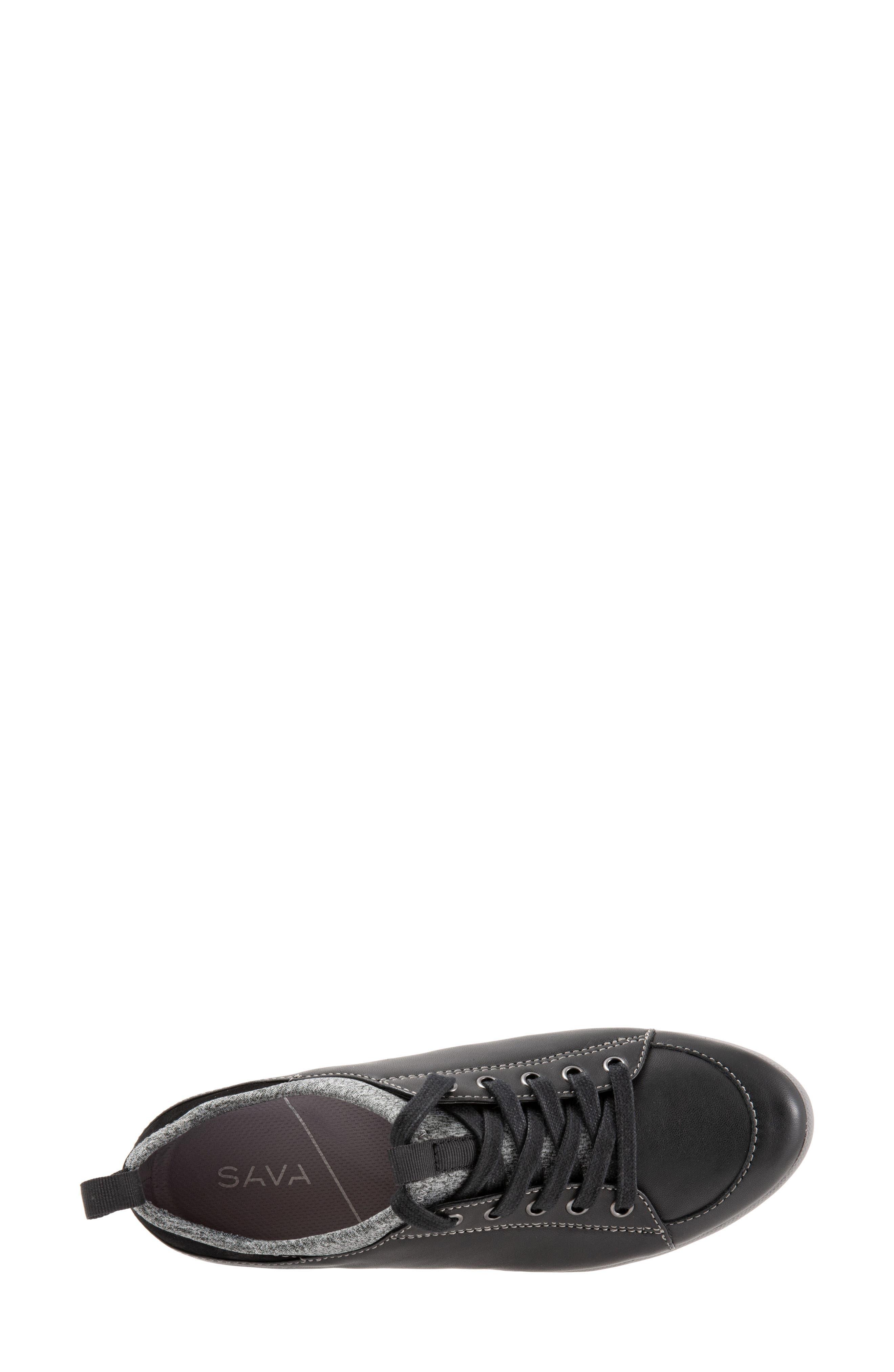 SOFTWALK<SUP>®</SUP>, SAVA Haven Sneaker, Alternate thumbnail 5, color, BLACK/ GREY LEATHER