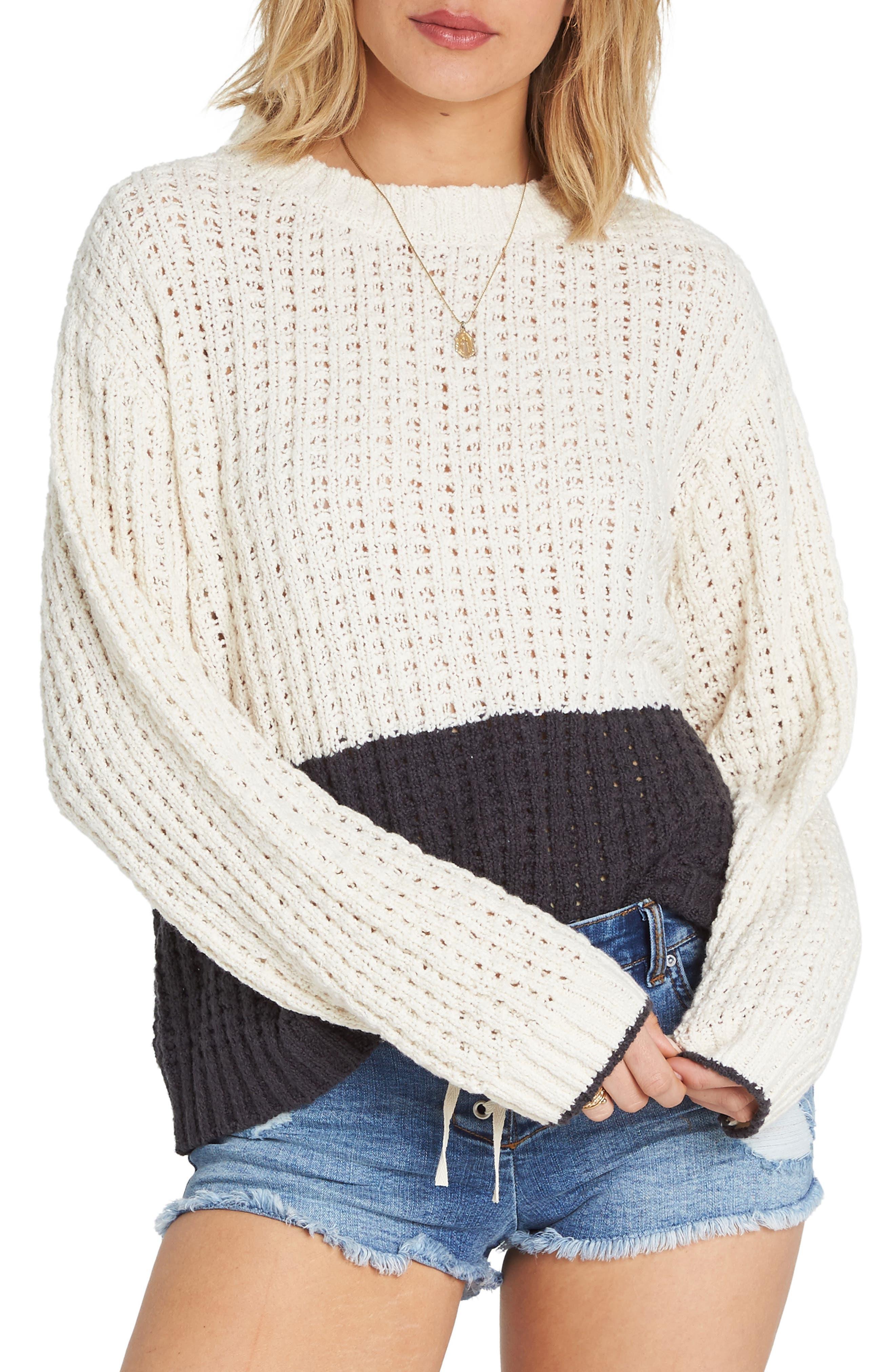 BILLABONG, Block Party Colorblock Sweater, Main thumbnail 1, color, 001