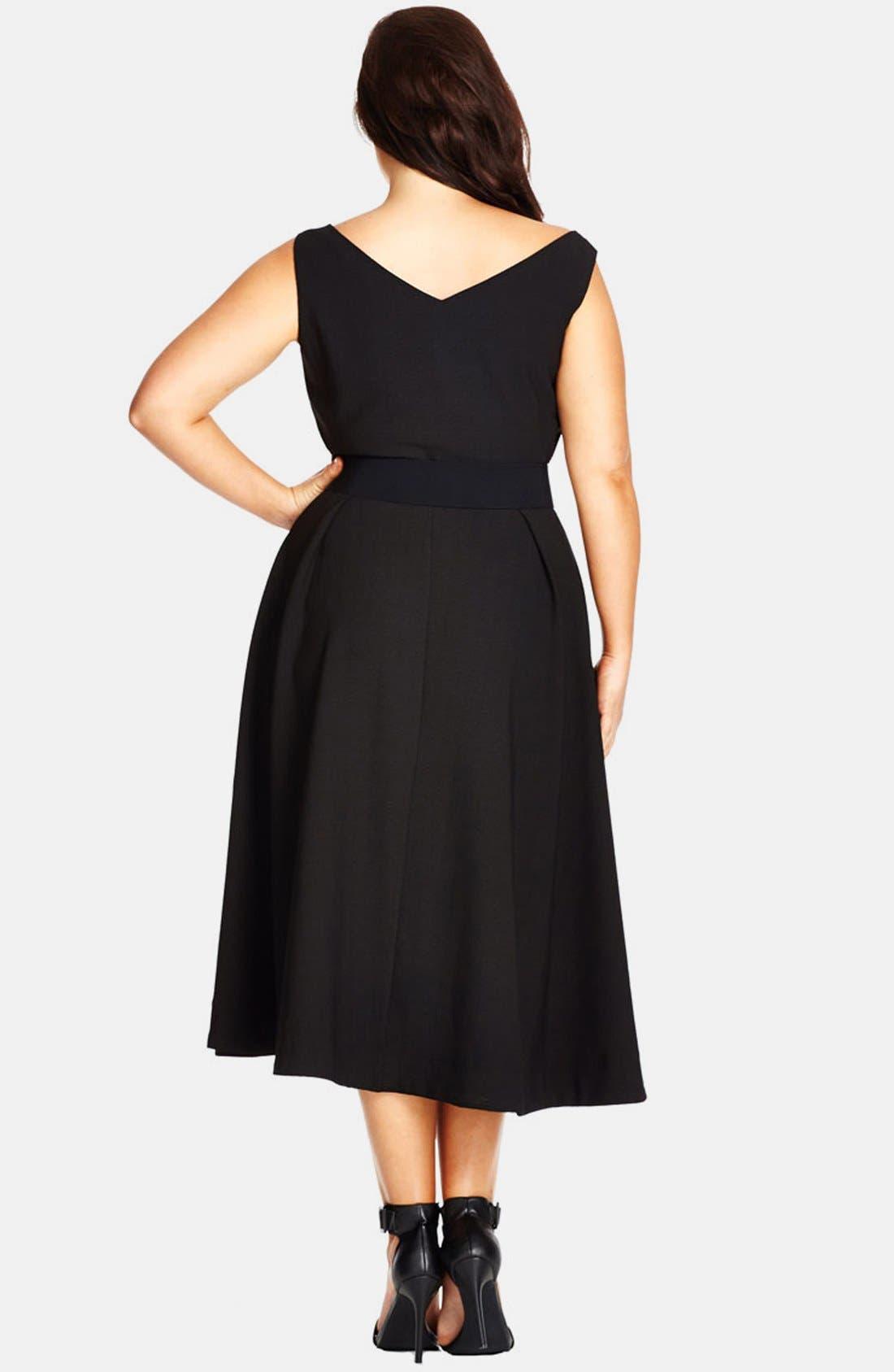 CITY CHIC, Belted Sweetheart Neck Tea Length Dress, Alternate thumbnail 2, color, BLACK