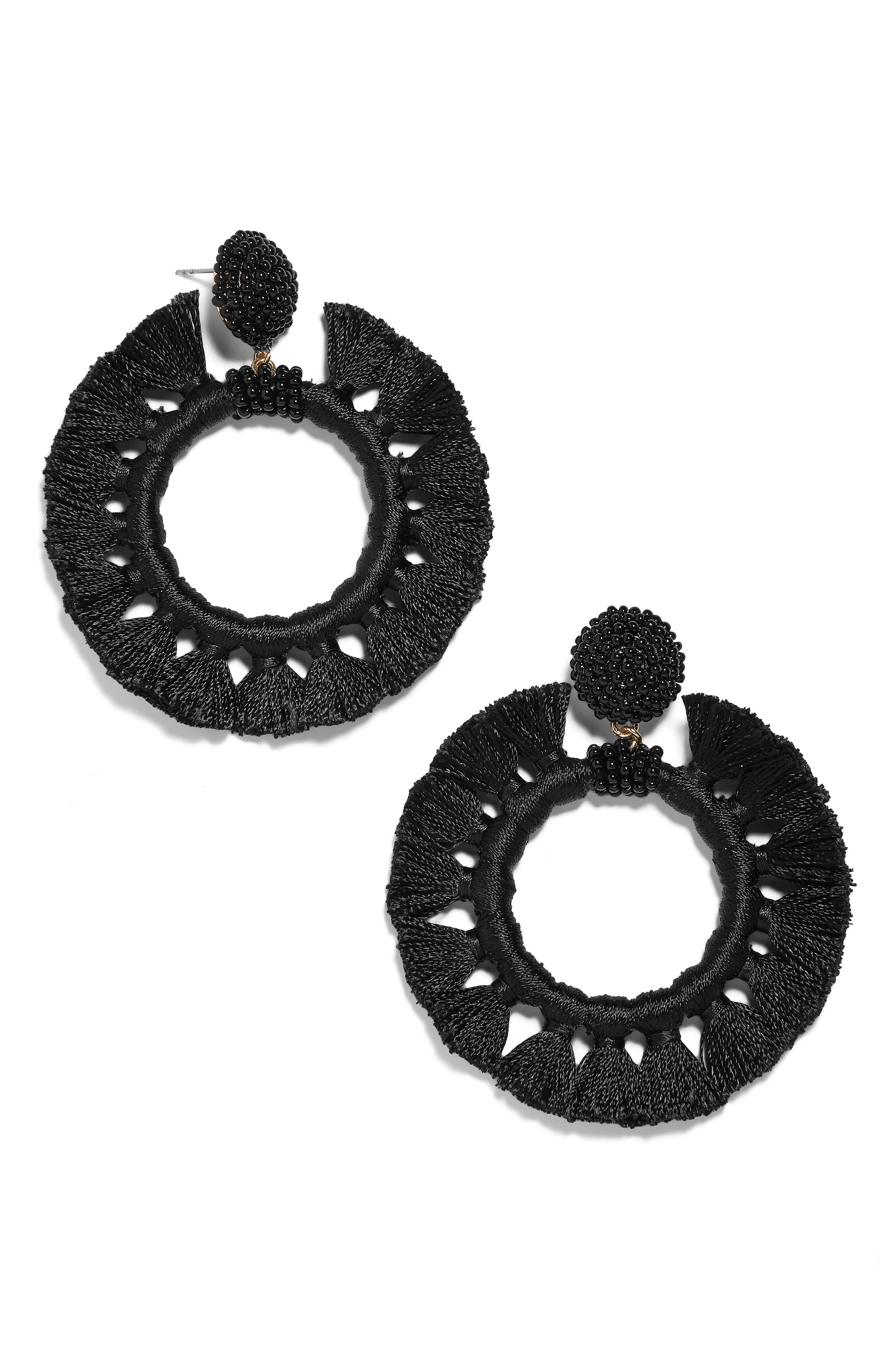 BAUBLEBAR Adrita Beaded Tassel Hoop Earrings, Main, color, BLACK