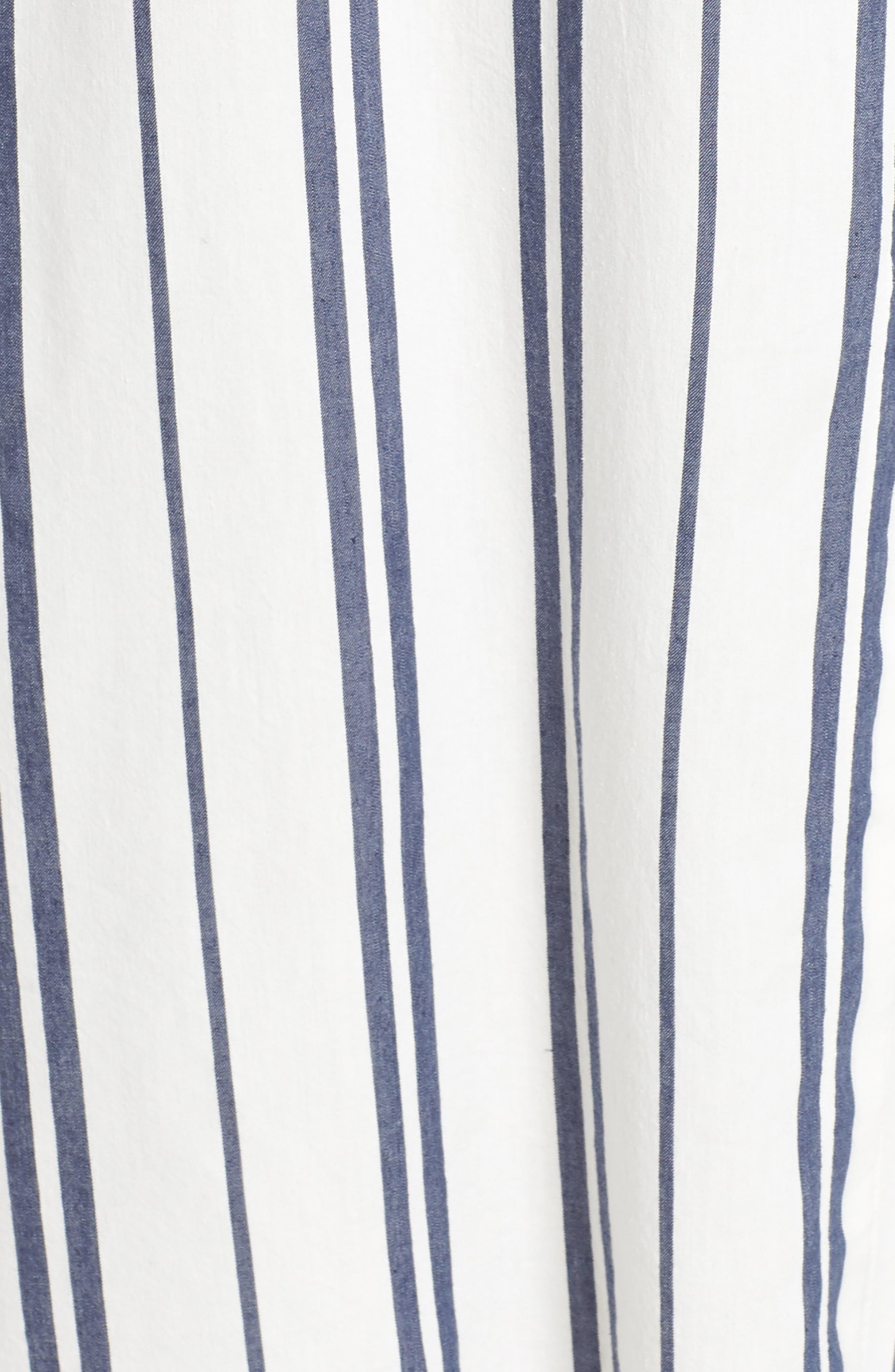 VINCE CAMUTO, Valiant Stripe Midi Shirtdress, Alternate thumbnail 6, color, PEARL IVORY