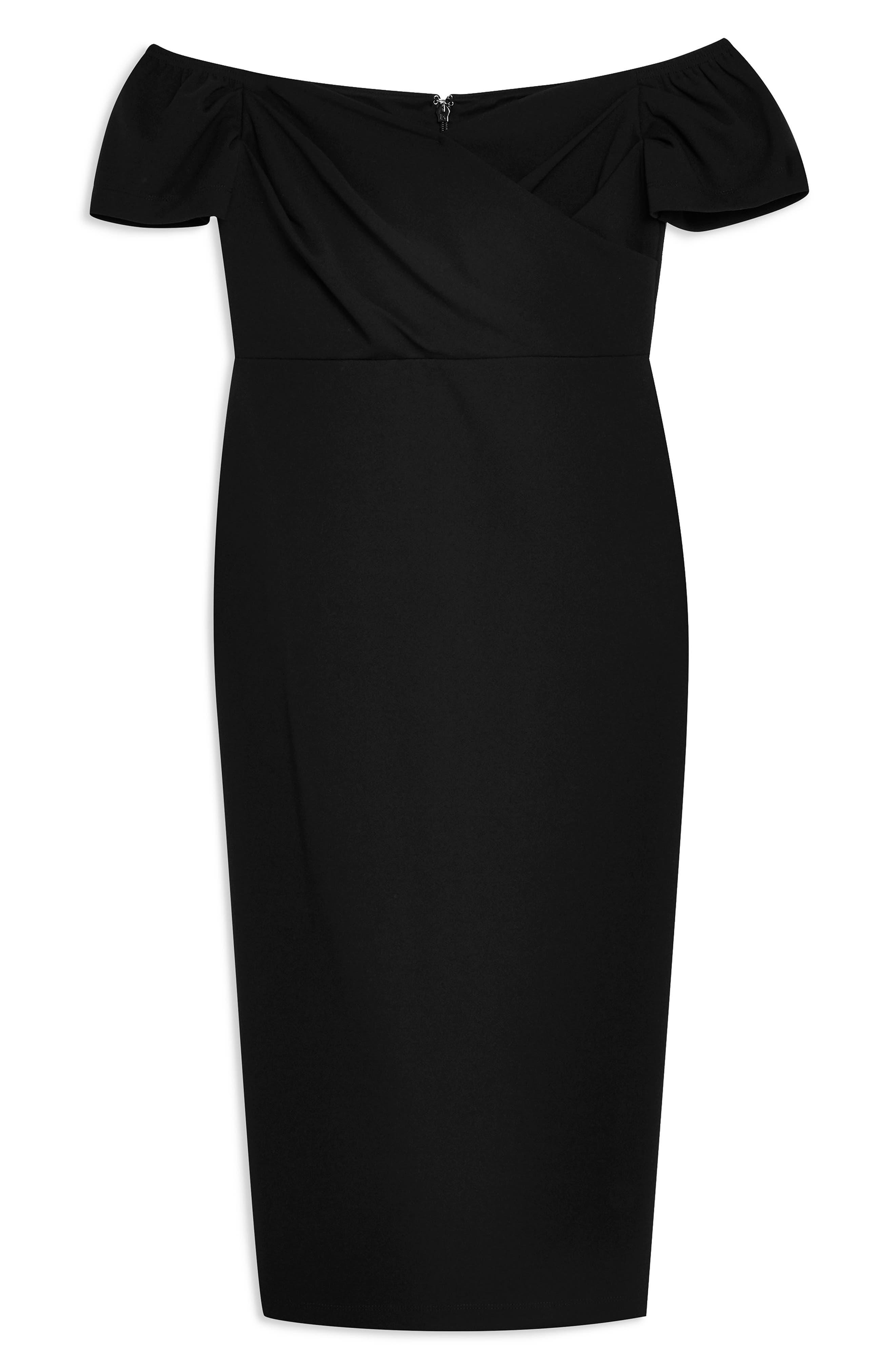 TOPSHOP, Off the Shoulder Wrap Midi Dress, Alternate thumbnail 3, color, BLACK