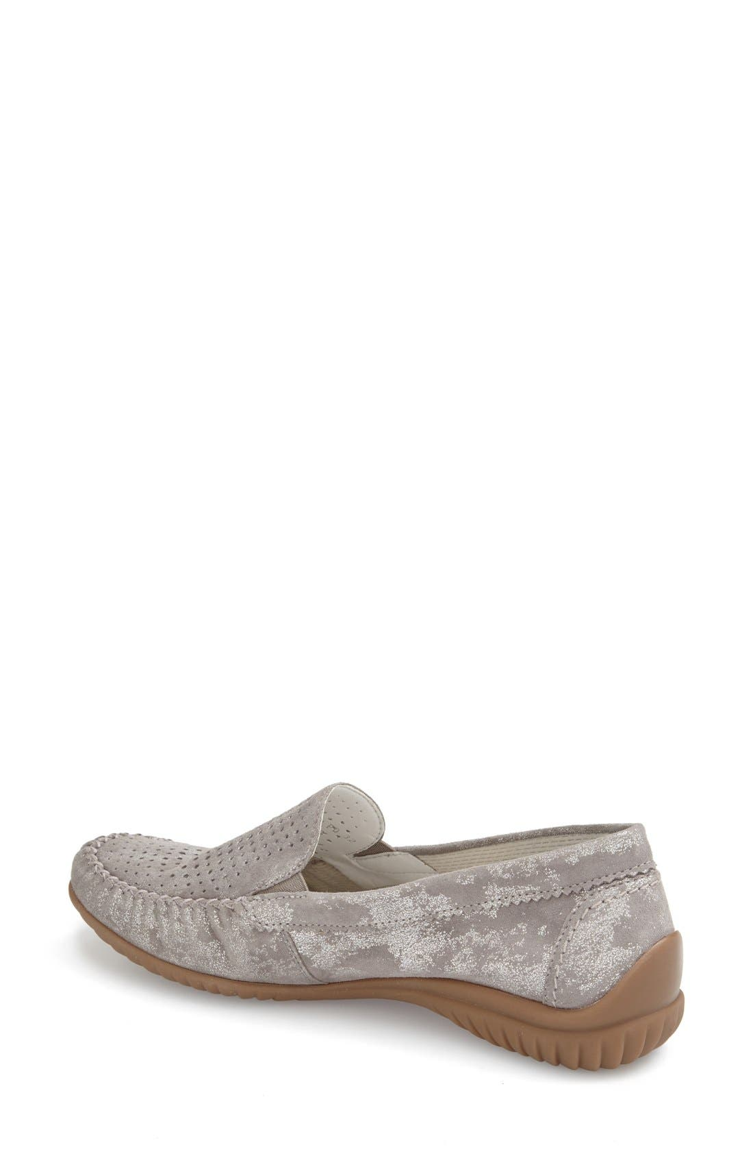 GABOR, Perforated Loafer, Alternate thumbnail 3, color, GREY CARUSO LEATHER