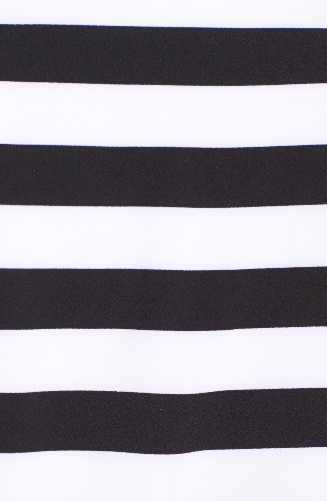 ELLIATT, 'Eclipse Stripe' Crepe Crop Top & Skirt, Alternate thumbnail 3, color, 003