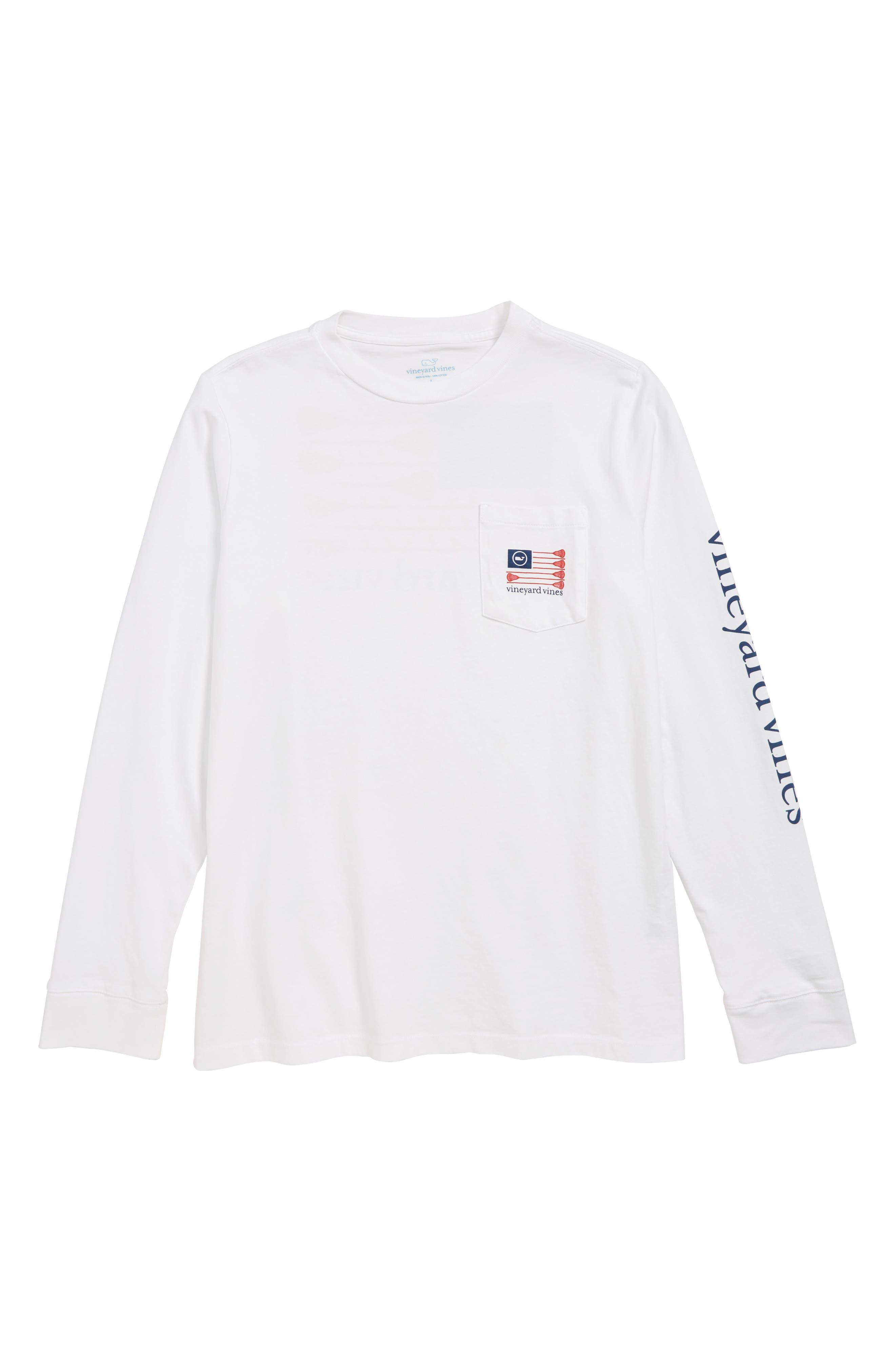 VINEYARD VINES, Lacrosse Flag Pocket T-Shirt, Main thumbnail 1, color, 100