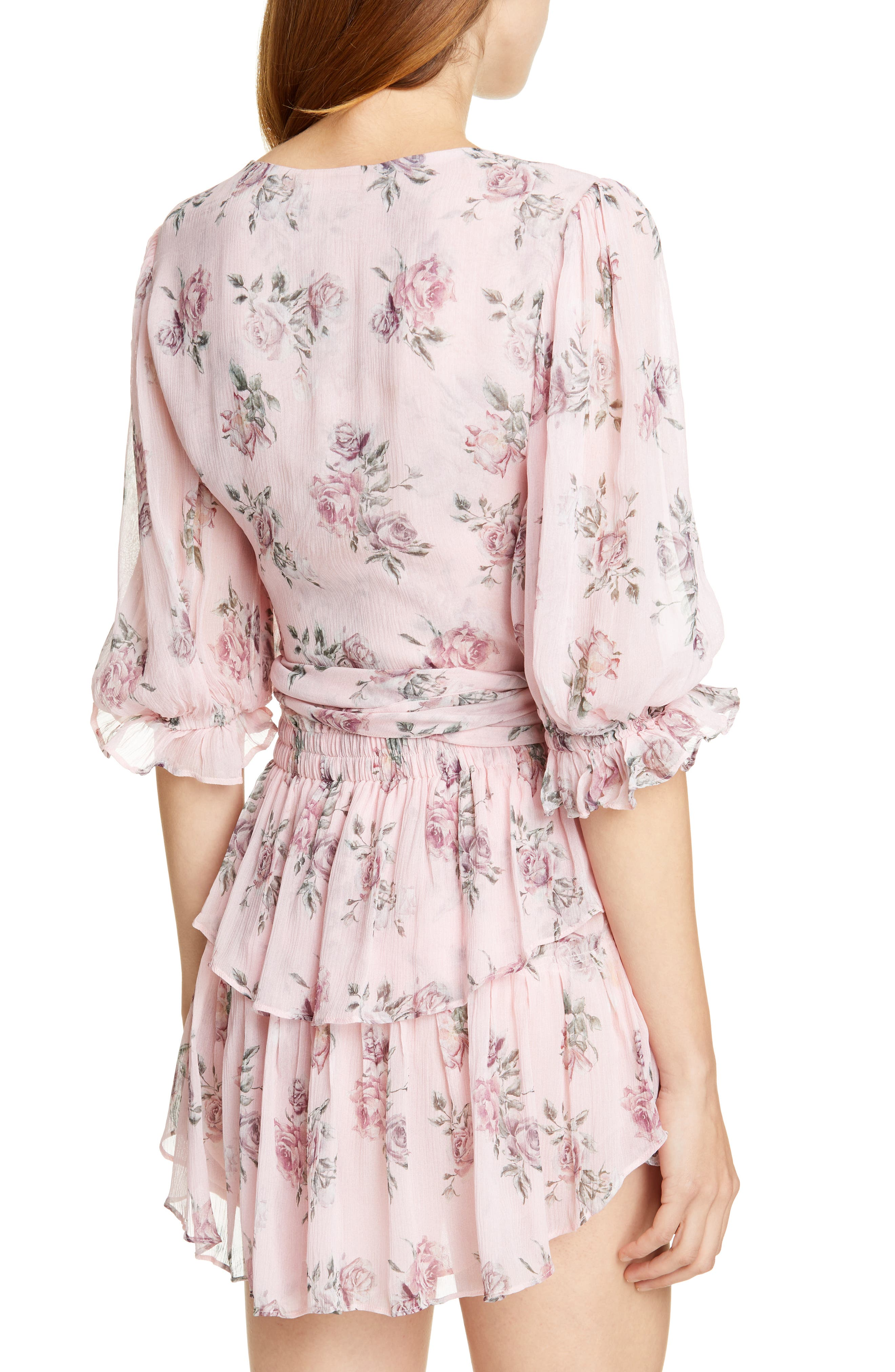 LOVESHACKFANCY, Domino Floral Silk Wrap Blouse, Alternate thumbnail 2, color, PINK CANOPY