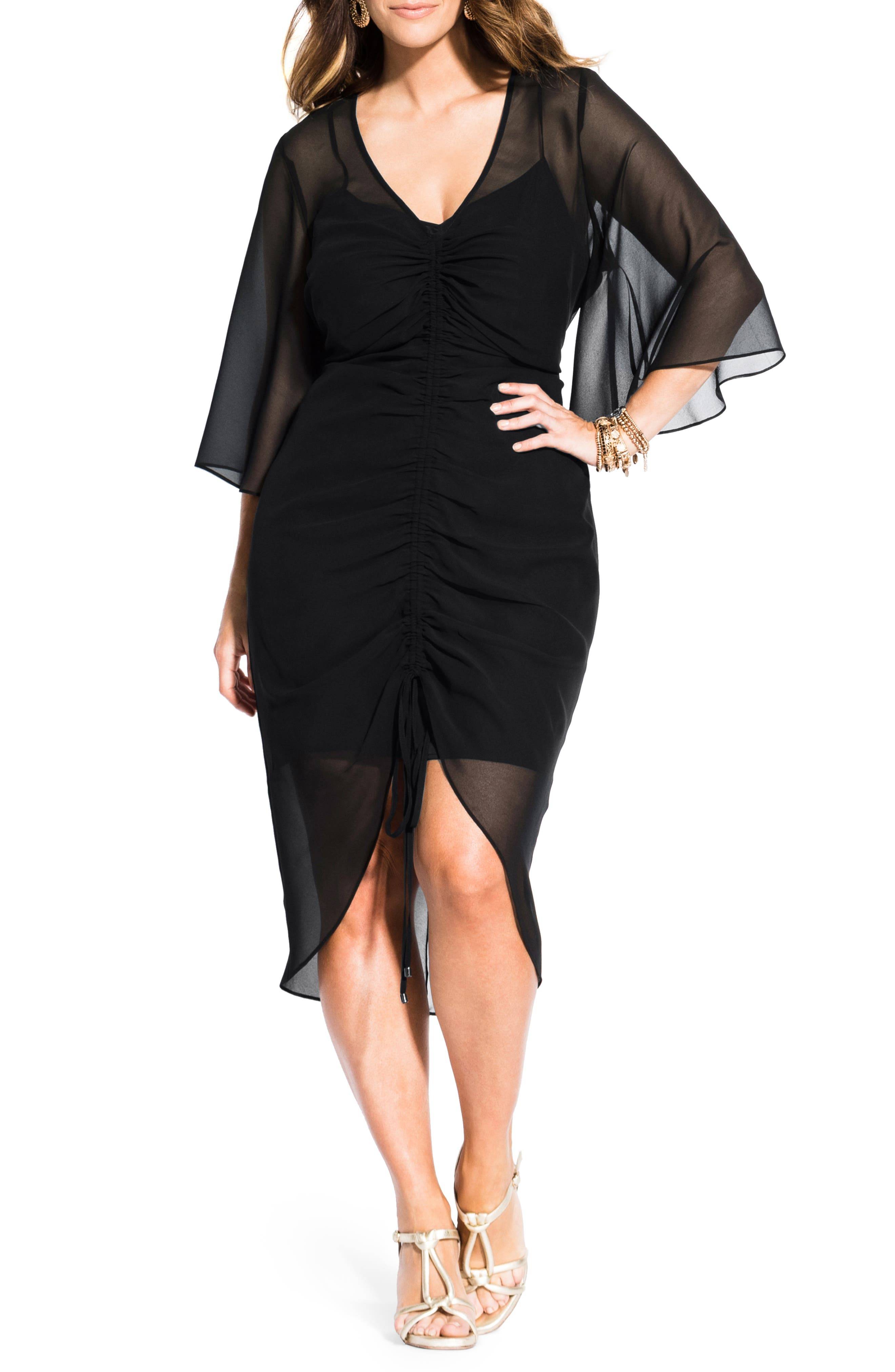 Plus Size City Chic Bella Vacanza Collection Drawn Up Ruched Party Dress, Black