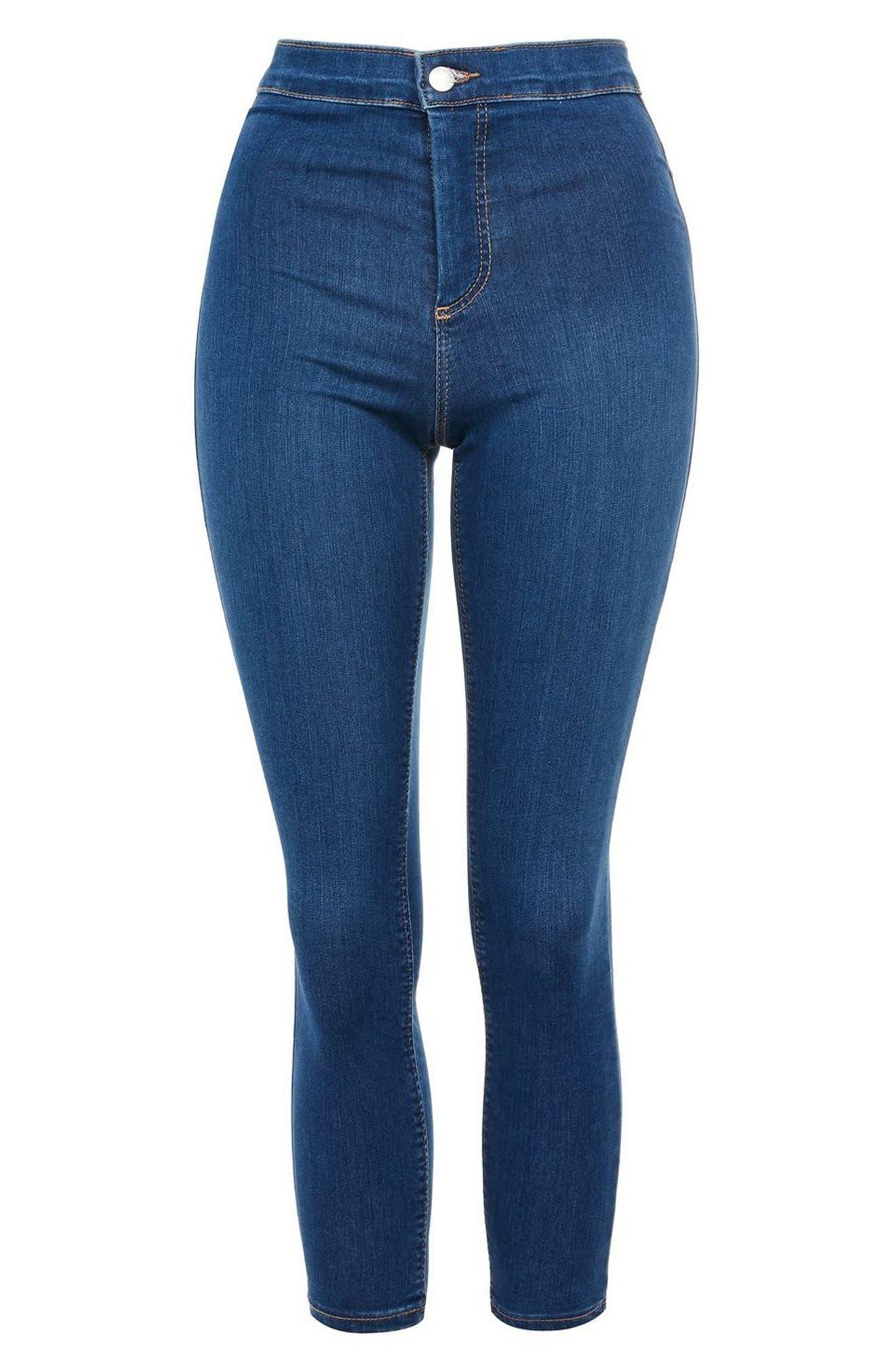 TOPSHOP, Moto Joni Skinny Jeans, Alternate thumbnail 4, color, BLUE