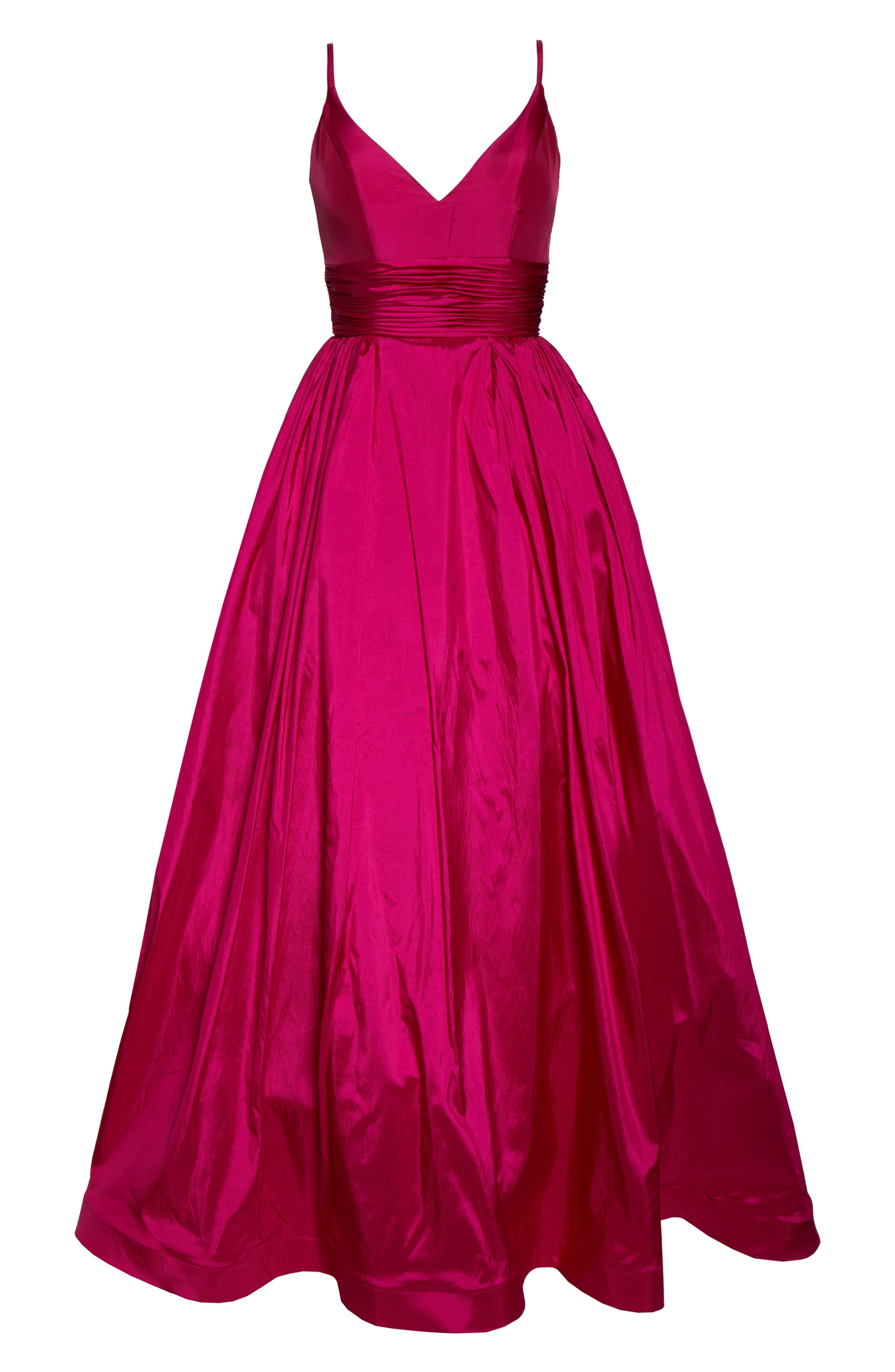MAC DUGGAL, V-Neck Satin Evening Dress, Alternate thumbnail 7, color, MAGENTA