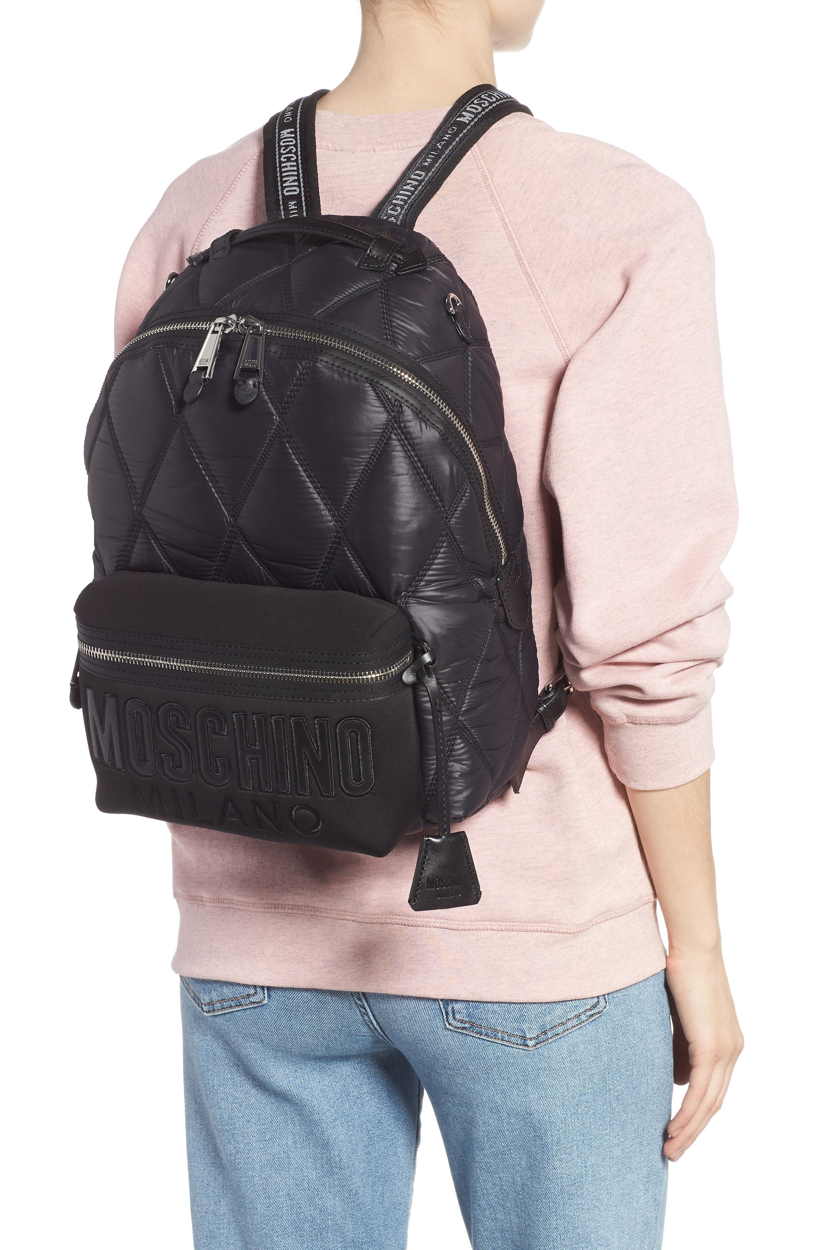 MOSCHINO, Quilted Nylon Backpack, Main thumbnail 1, color, BLACK