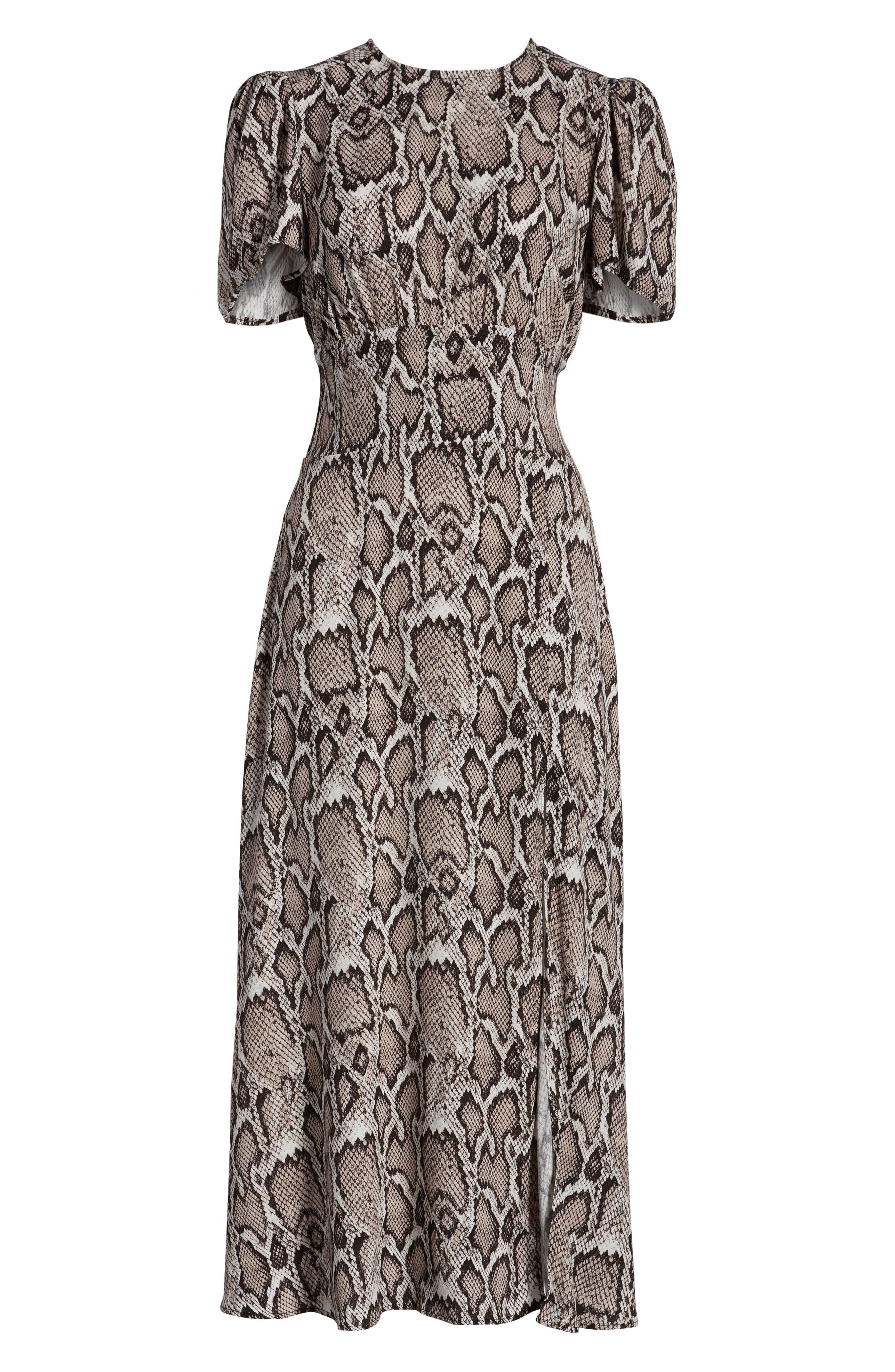 AFRM, Lala Midi Dress, Alternate thumbnail 7, color, SNAKESKIN