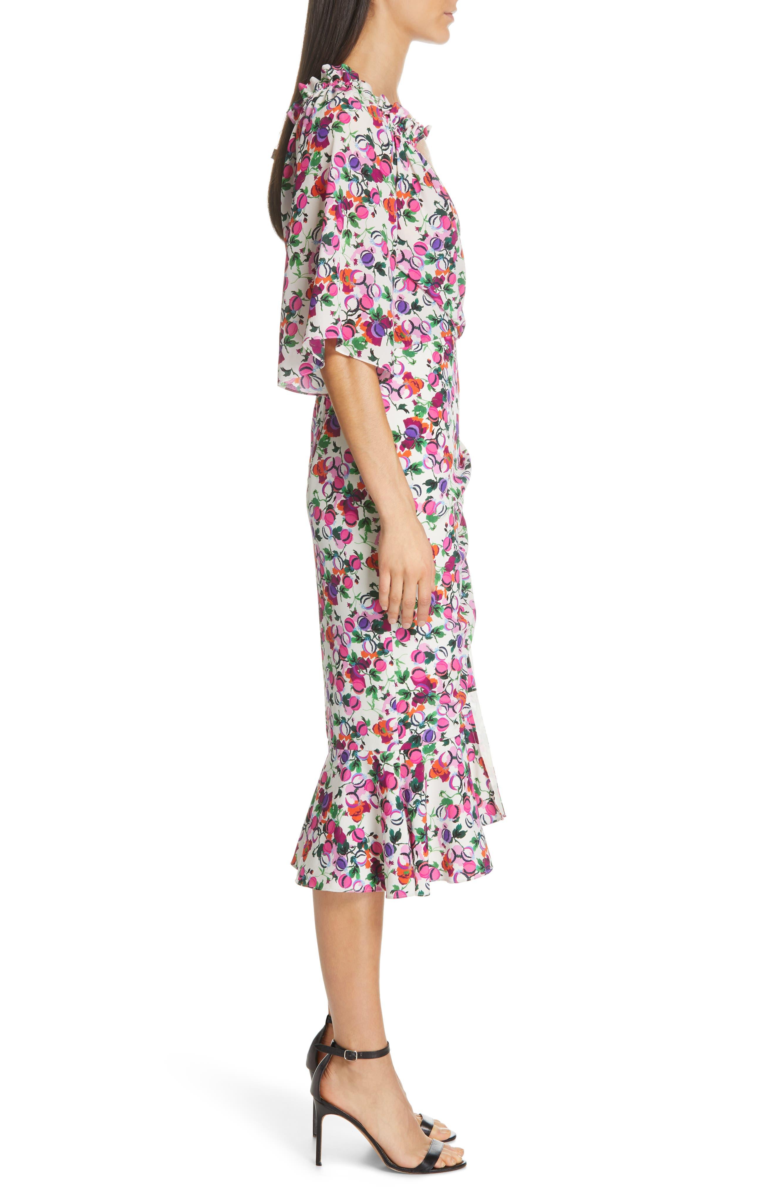 SALONI, Olivia Floral Print Off the Shoulder Midi Dress, Alternate thumbnail 3, color, ROSE BOUNTY BLACK