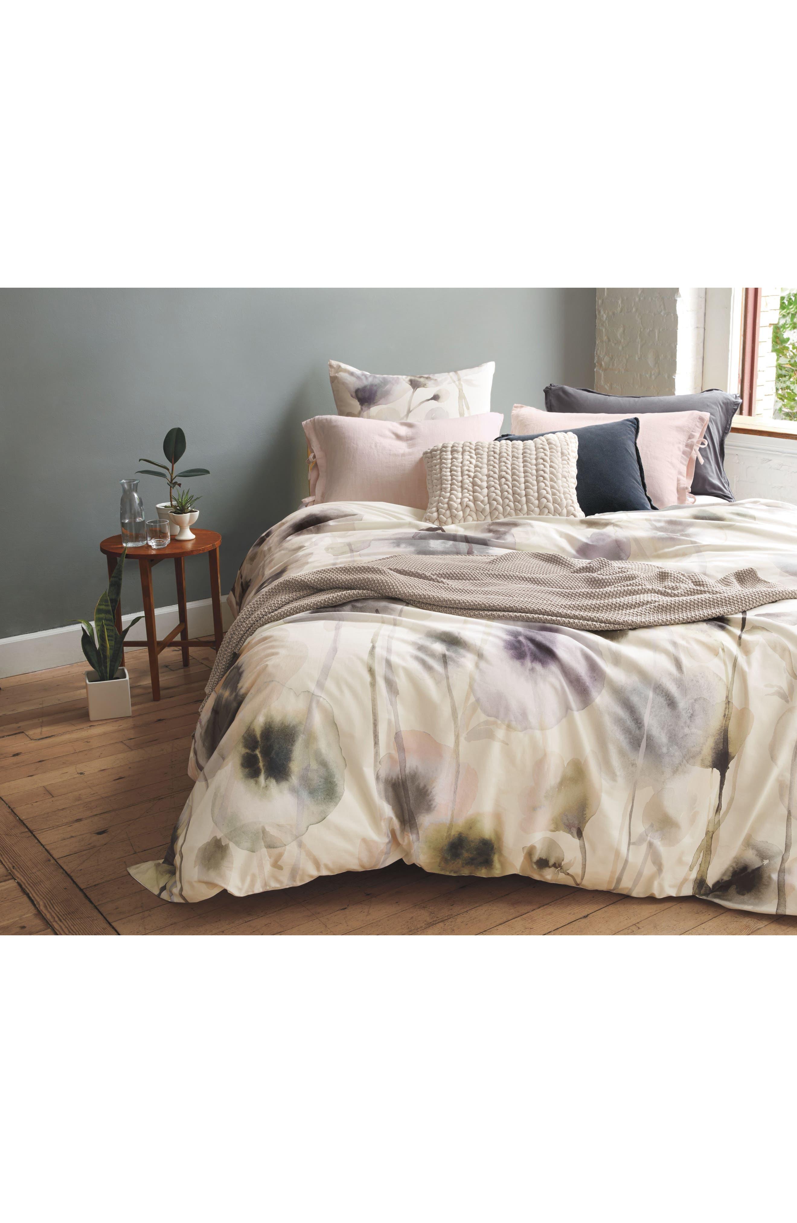 TREASURE & BOND, Floral Print Duvet Cover, Alternate thumbnail 3, color, WHITE WHISPER