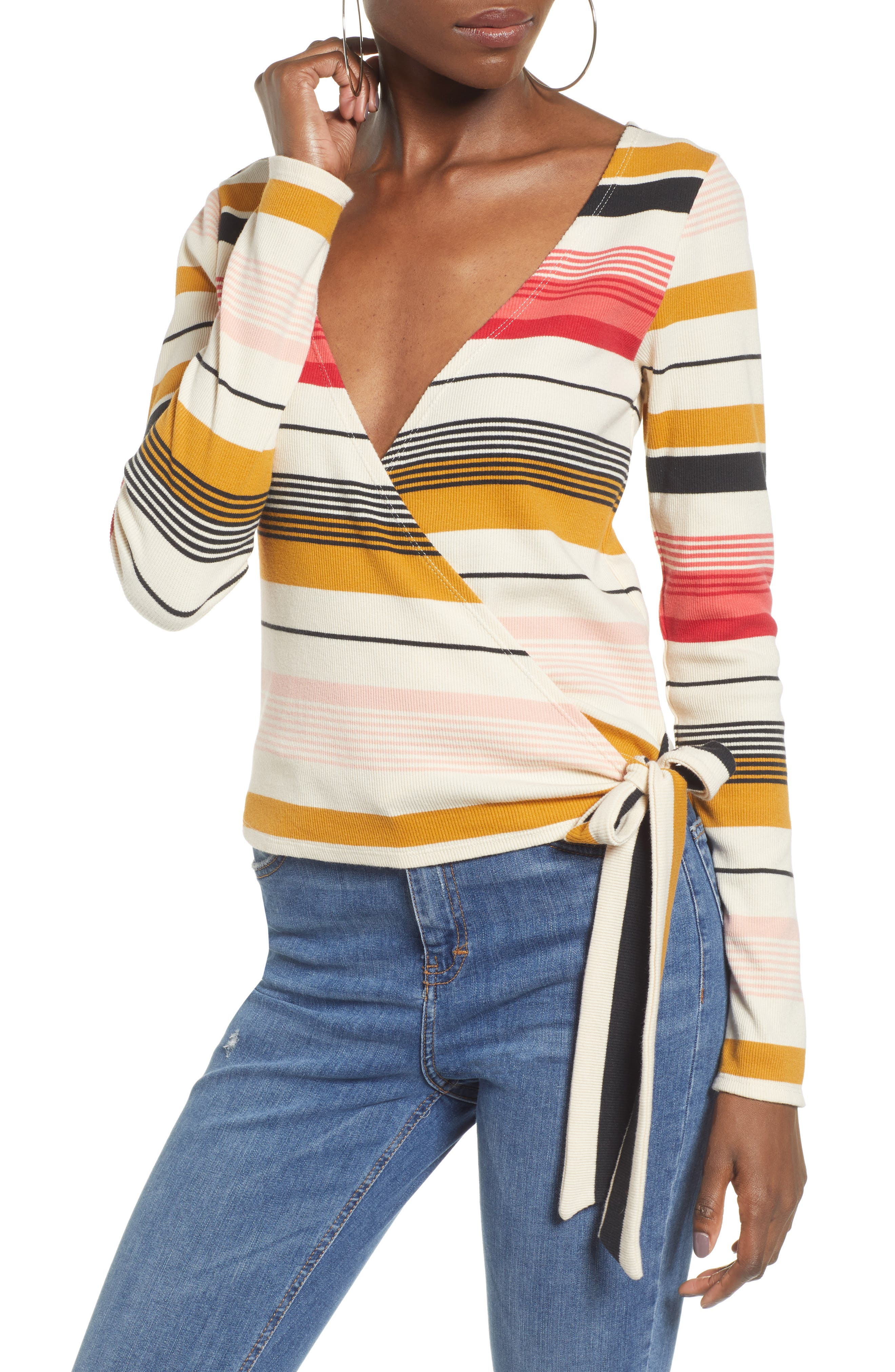 BILLABONG Wrap City Stripe Wrap Top, Main, color, 100