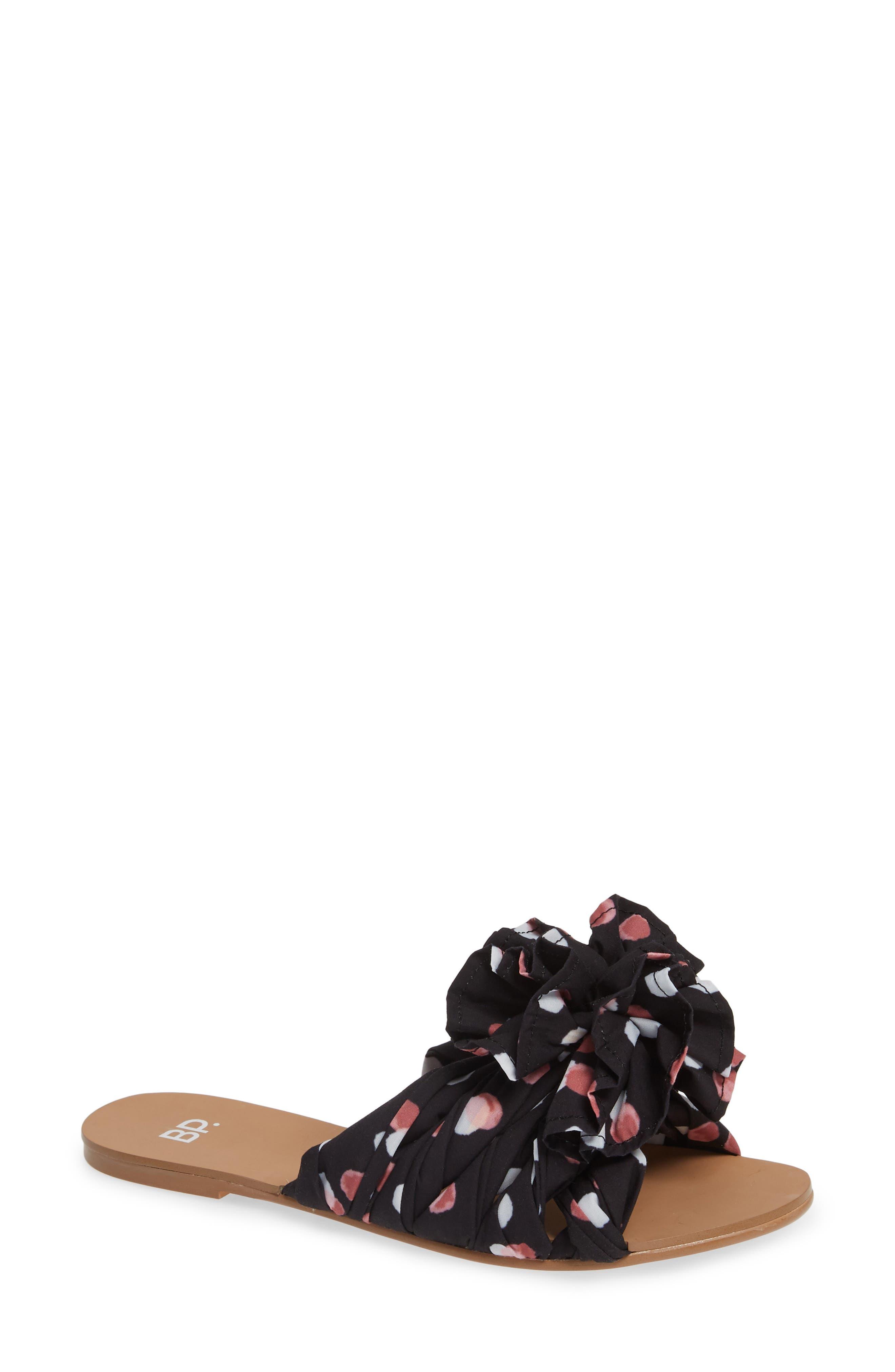 BP. Ruby Slide Sandal, Main, color, BLACK POLKA DOT FABRIC