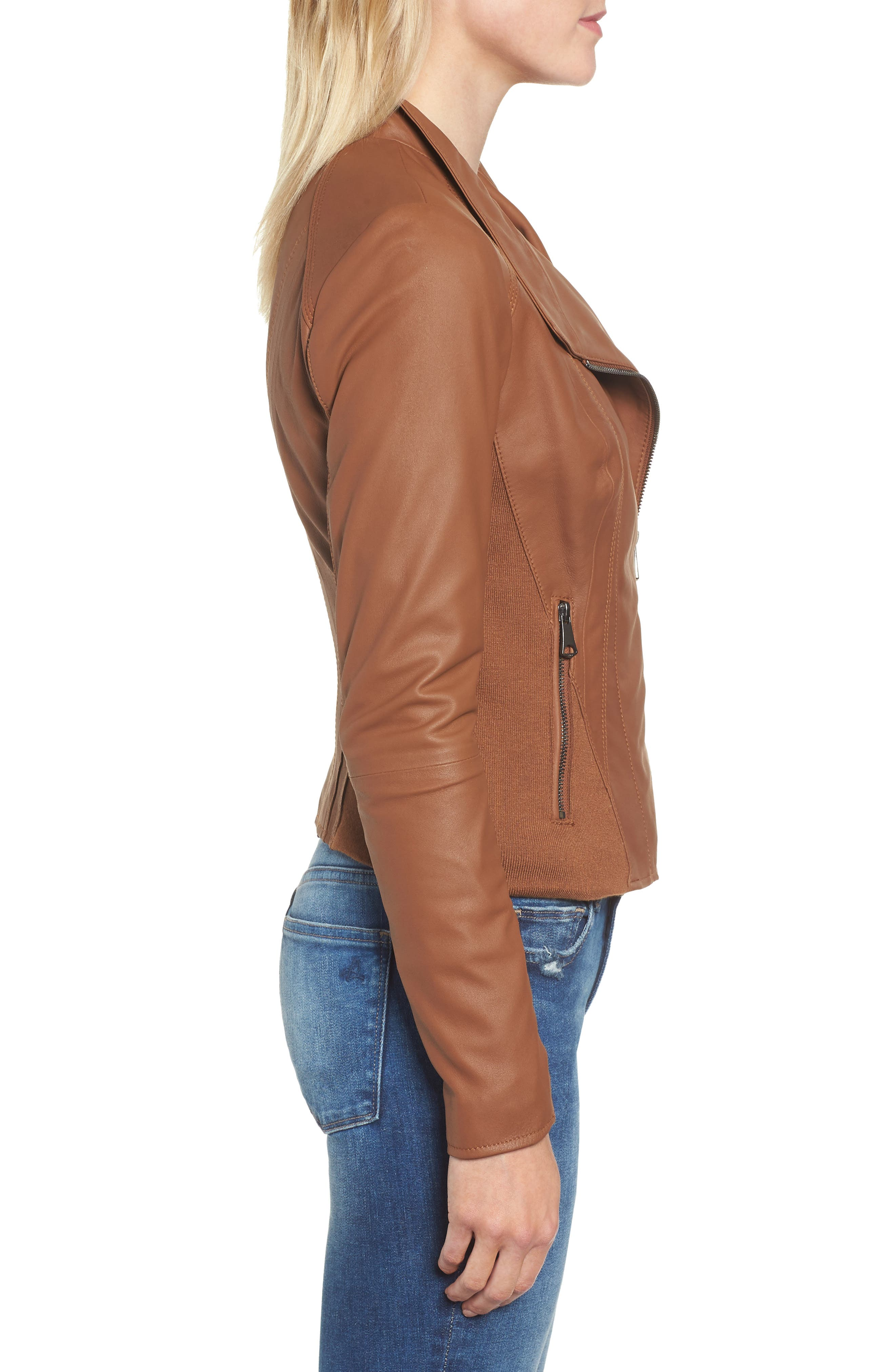 ANDREW MARC, Marc New York by Andrew Marc Felix Stand Collar Leather Jacket, Alternate thumbnail 4, color, WHISKEY