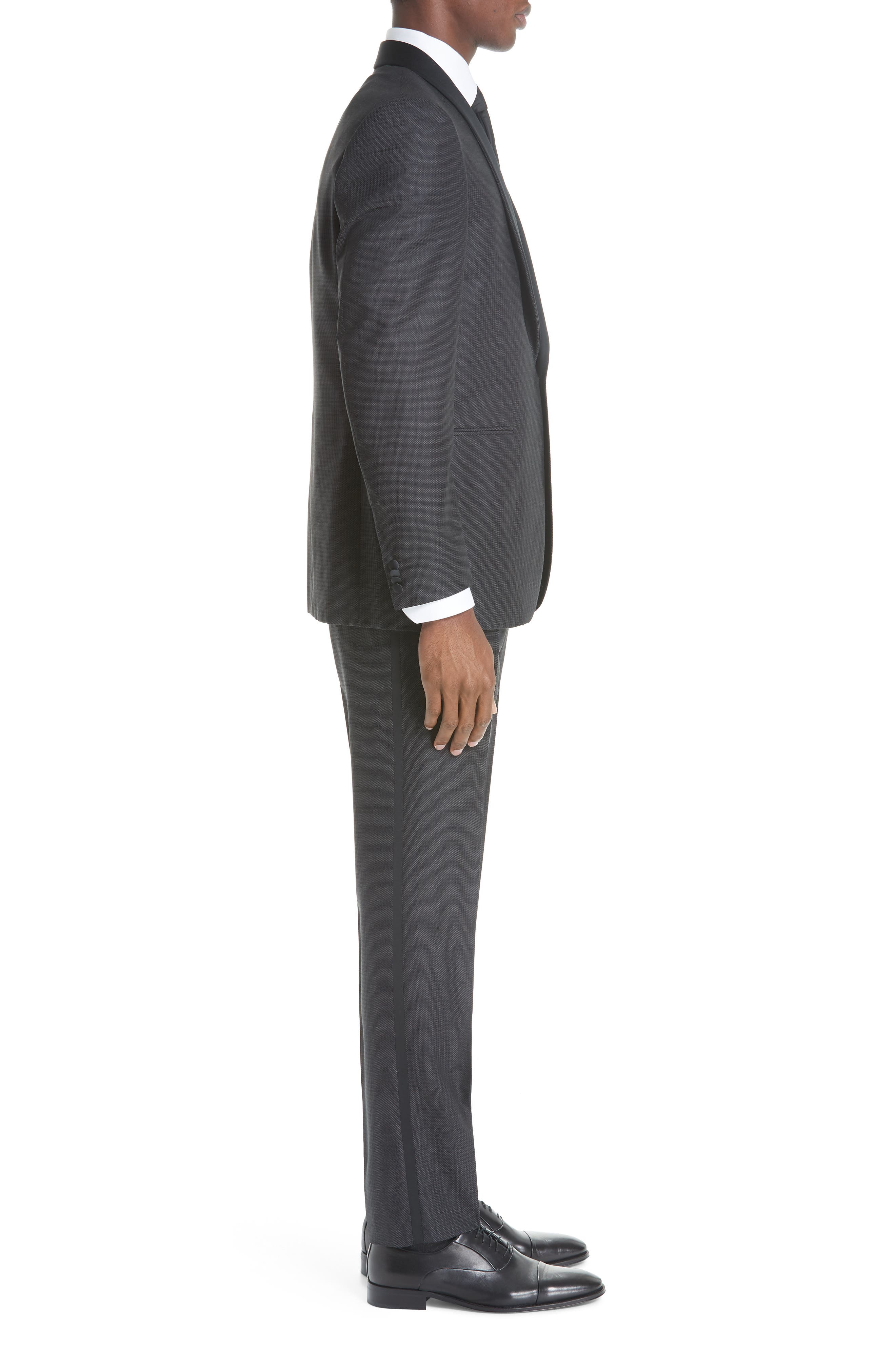 CANALI, Classic Fit Wool Tuxedo, Alternate thumbnail 3, color, CHARCOAL