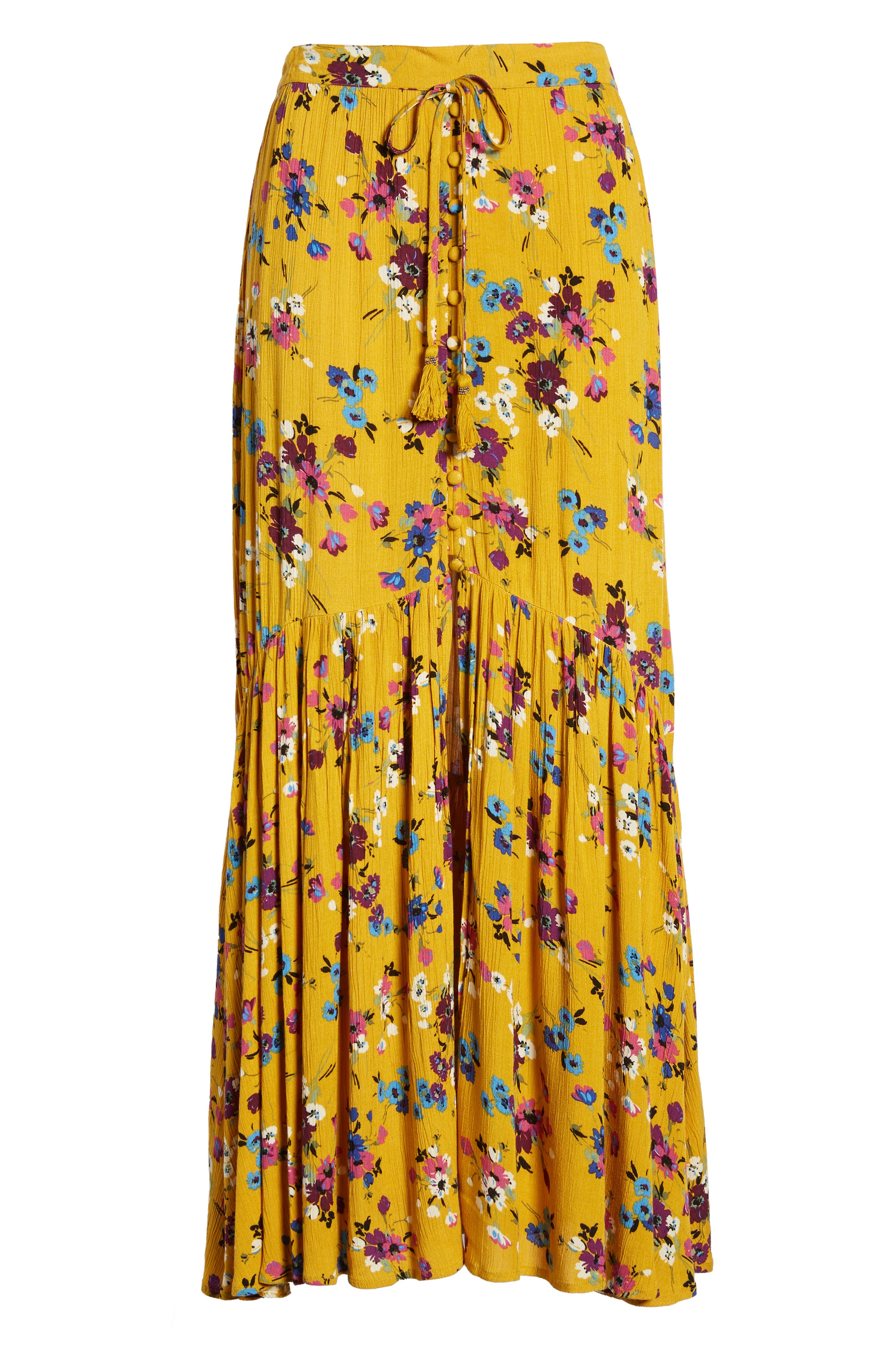 BAND OF GYPSIES, Marseille Button Front Maxi Skirt, Alternate thumbnail 6, color, 700
