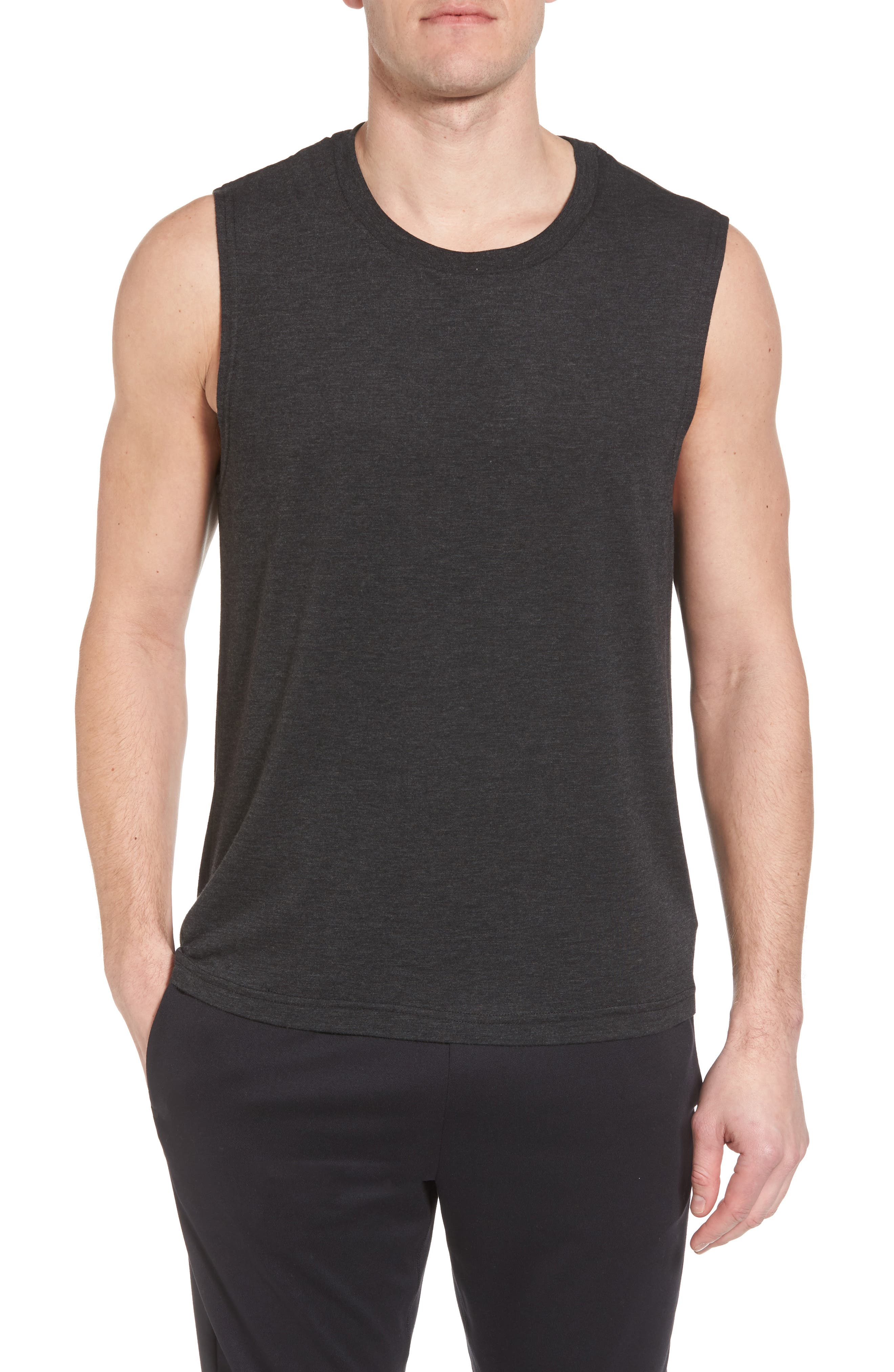 ALO The Triumph Sleeveless T-Shirt, Main, color, CHARCOAL BLACK TRIBLEND