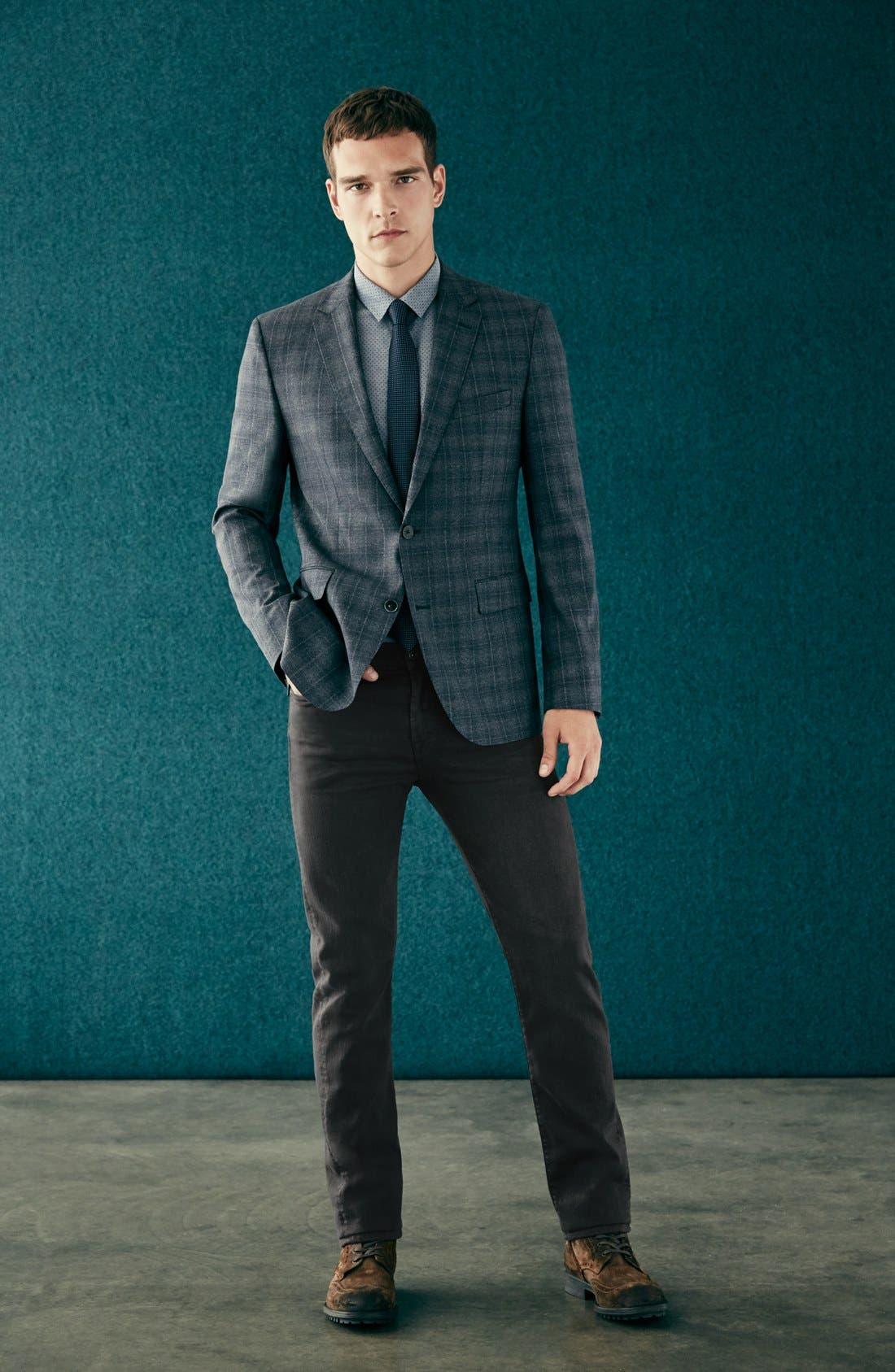 ZZDNUHUGO BOSS, BOSS 'Jayden' Trim Fit Plaid Wool Sport Coat, Alternate thumbnail 4, color, 420