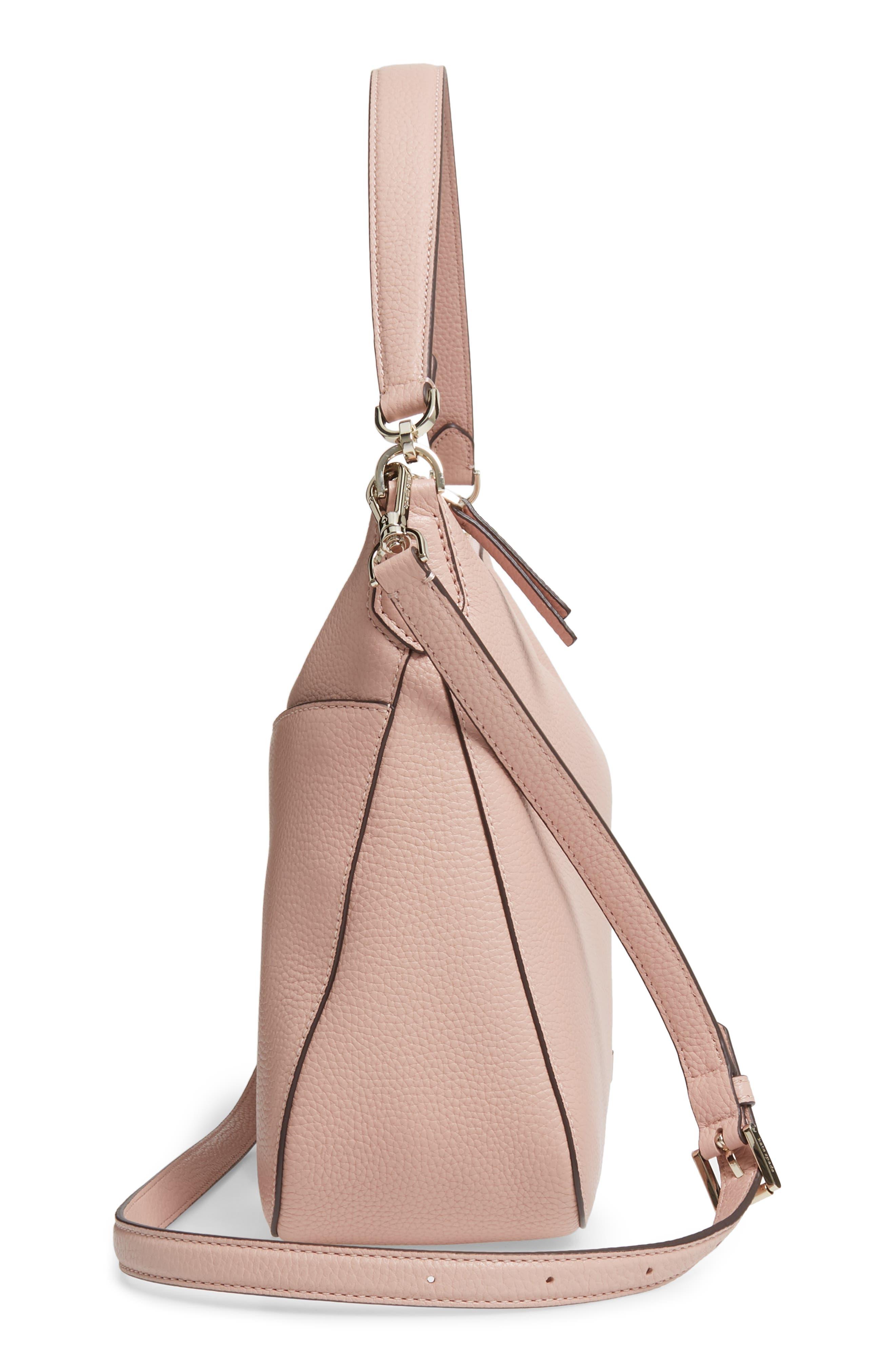 KATE SPADE NEW YORK, medium polly leather shoulder bag, Alternate thumbnail 5, color, FLAPPER PINK